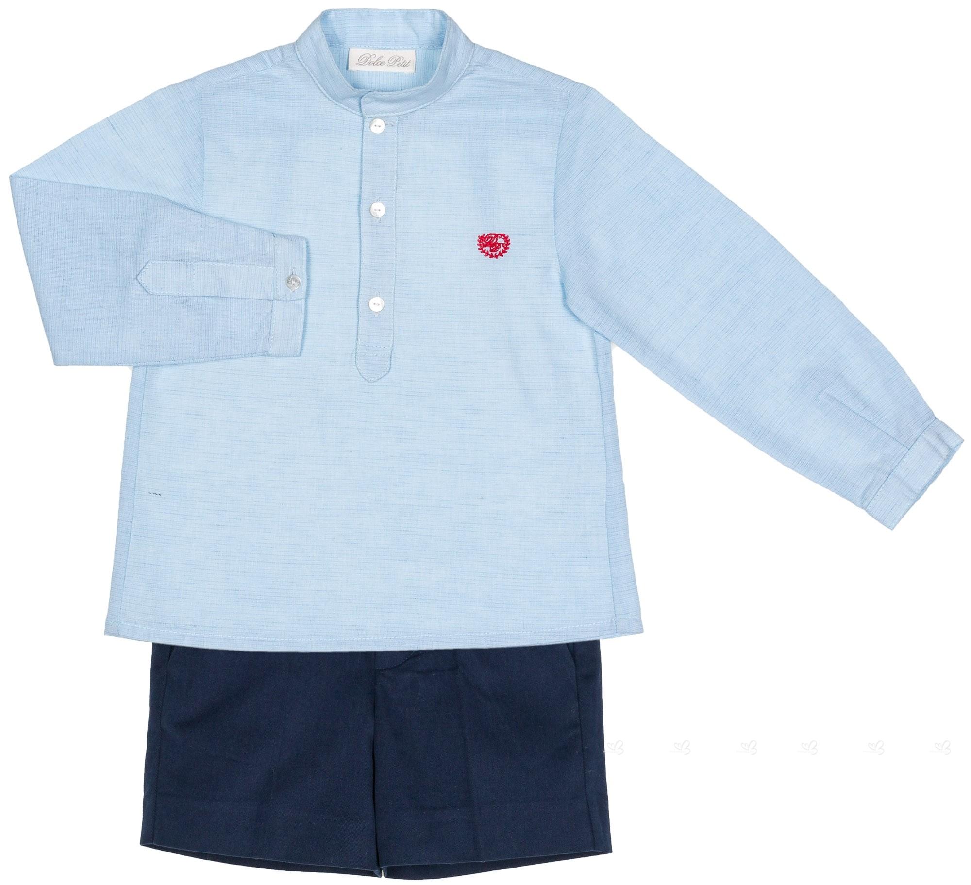 ef45aea3b Dolce Petit Conjunto Niño Camisa Azul   Short Marino ...
