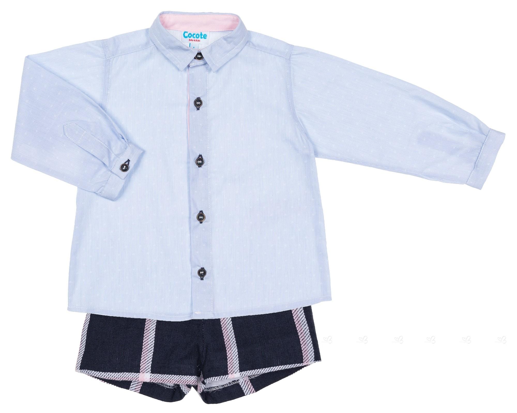 3fa75aec0 Cocote. Conjunto Niño Camisa Azul   Short Marino