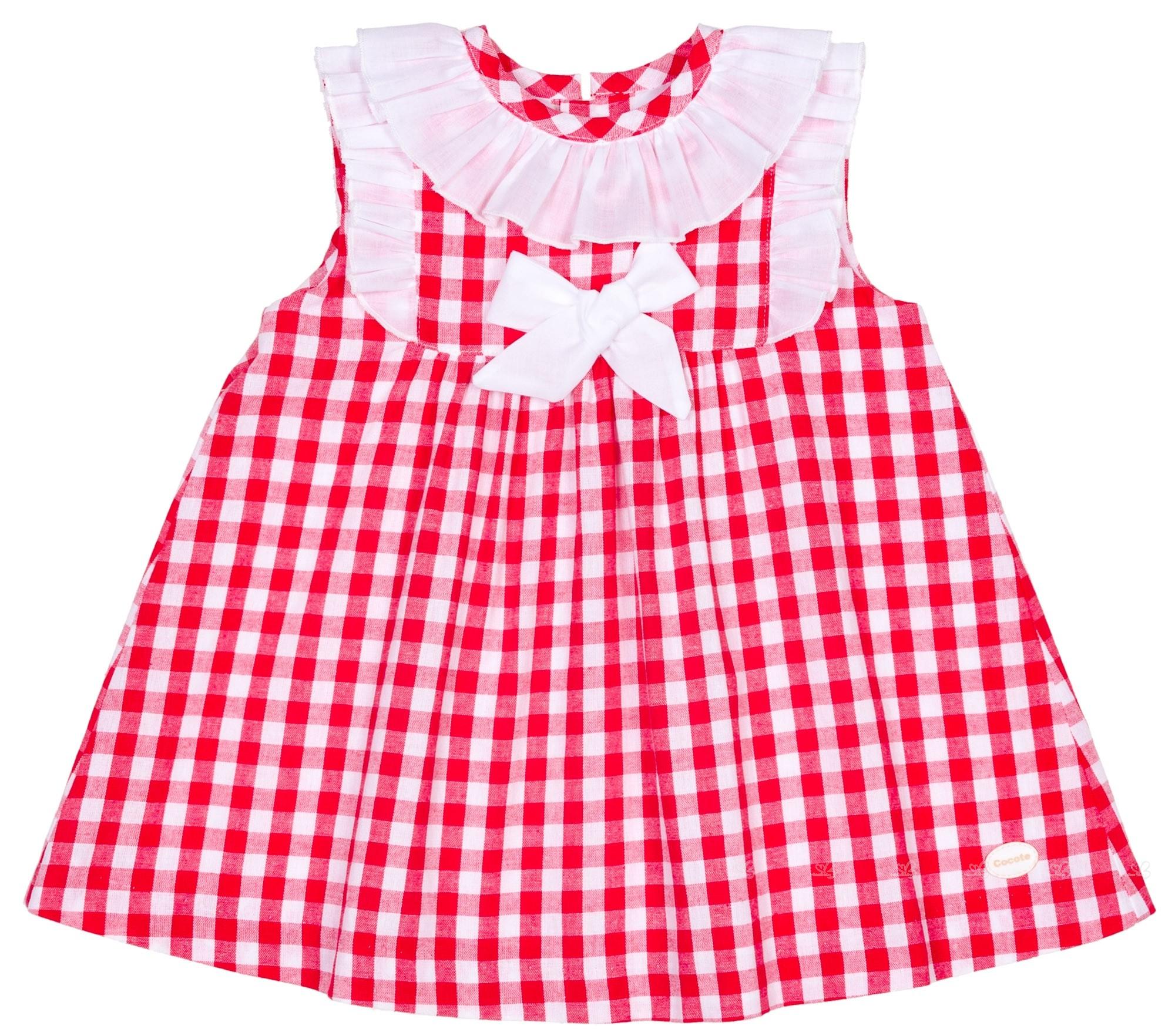 Cocote Vestido Niña Cuadros Vichy Rojo & Lazo Volante | Missbaby
