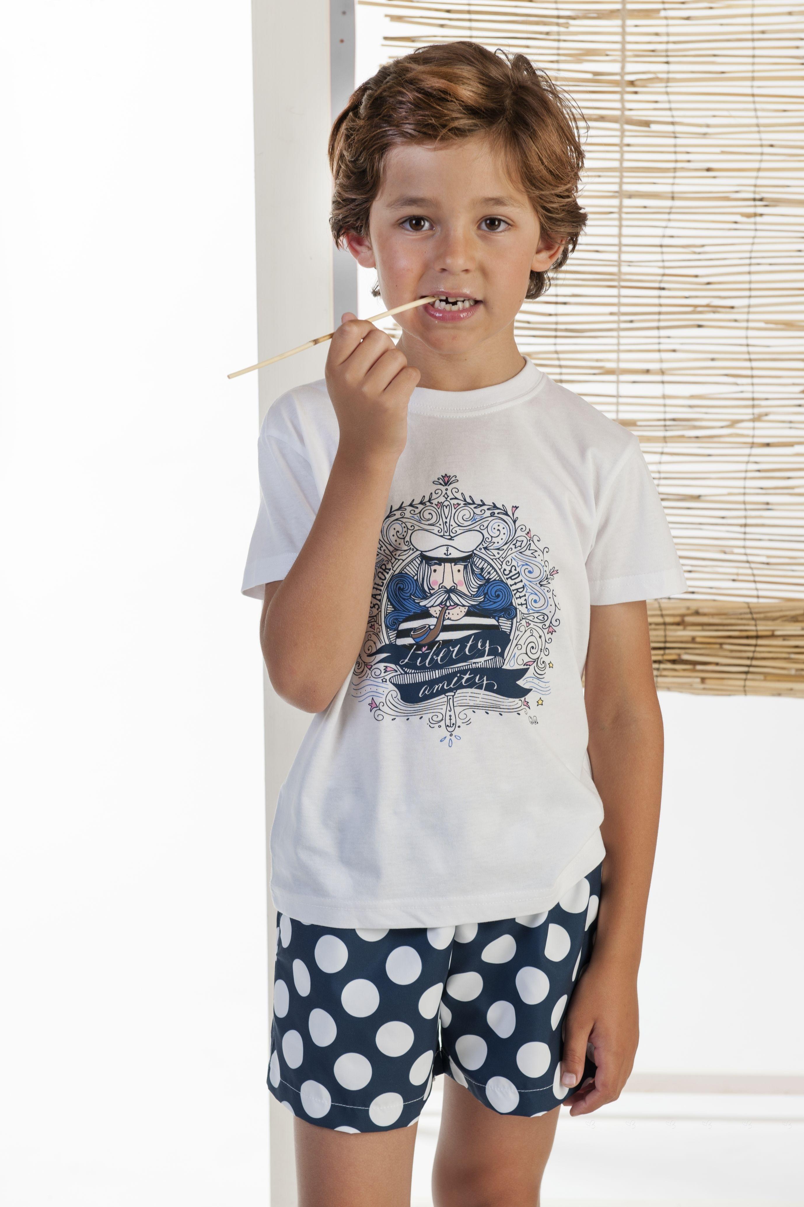 b3255d11c ... José Varón Conjunto Niño Camiseta Capitan Boxer Lunares Marino ...