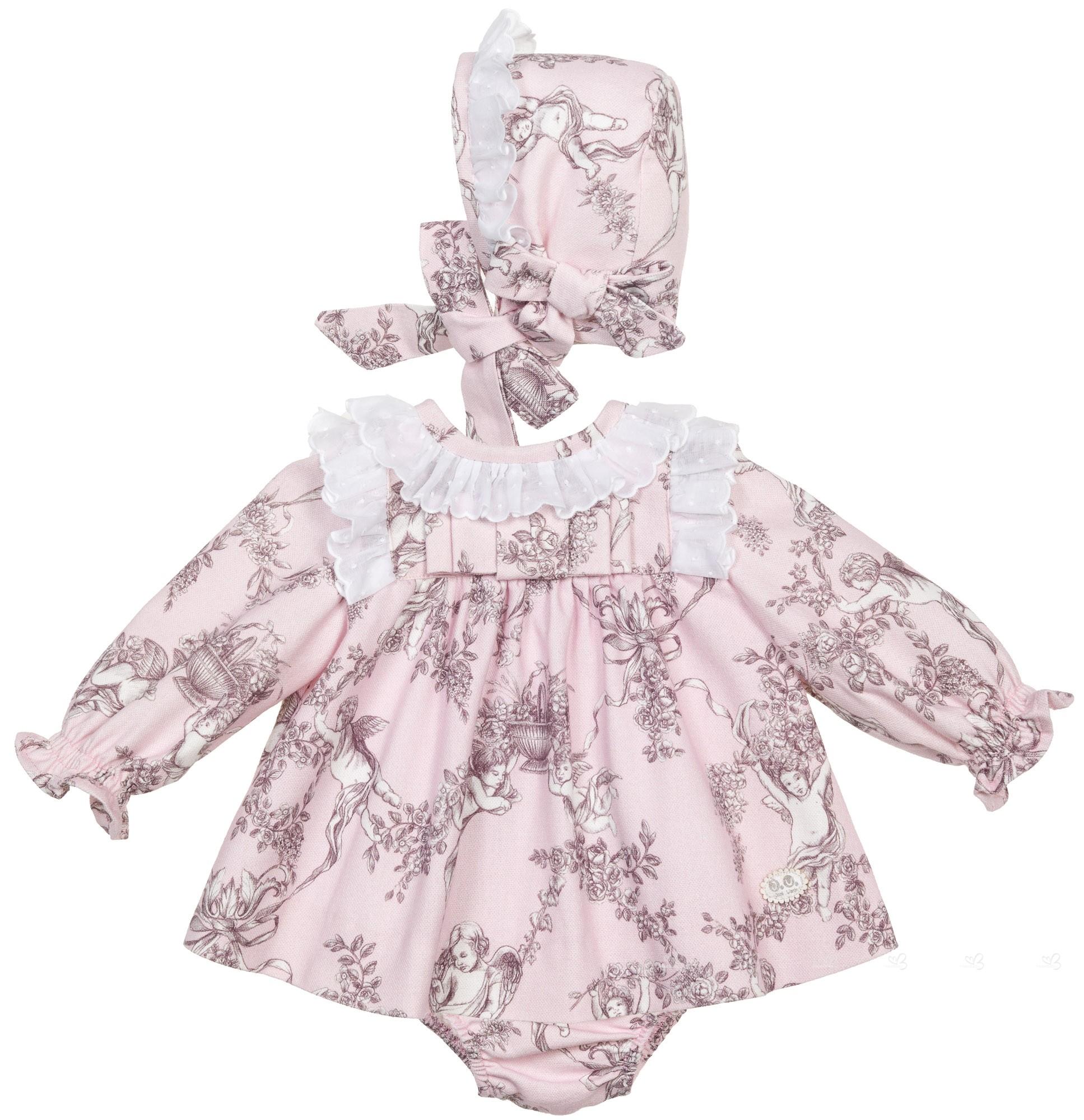 talla 7 gama completa de especificaciones compra venta Vestido Bebé Niña 3 Piezas Toile de Jouy Ángeles Rosa