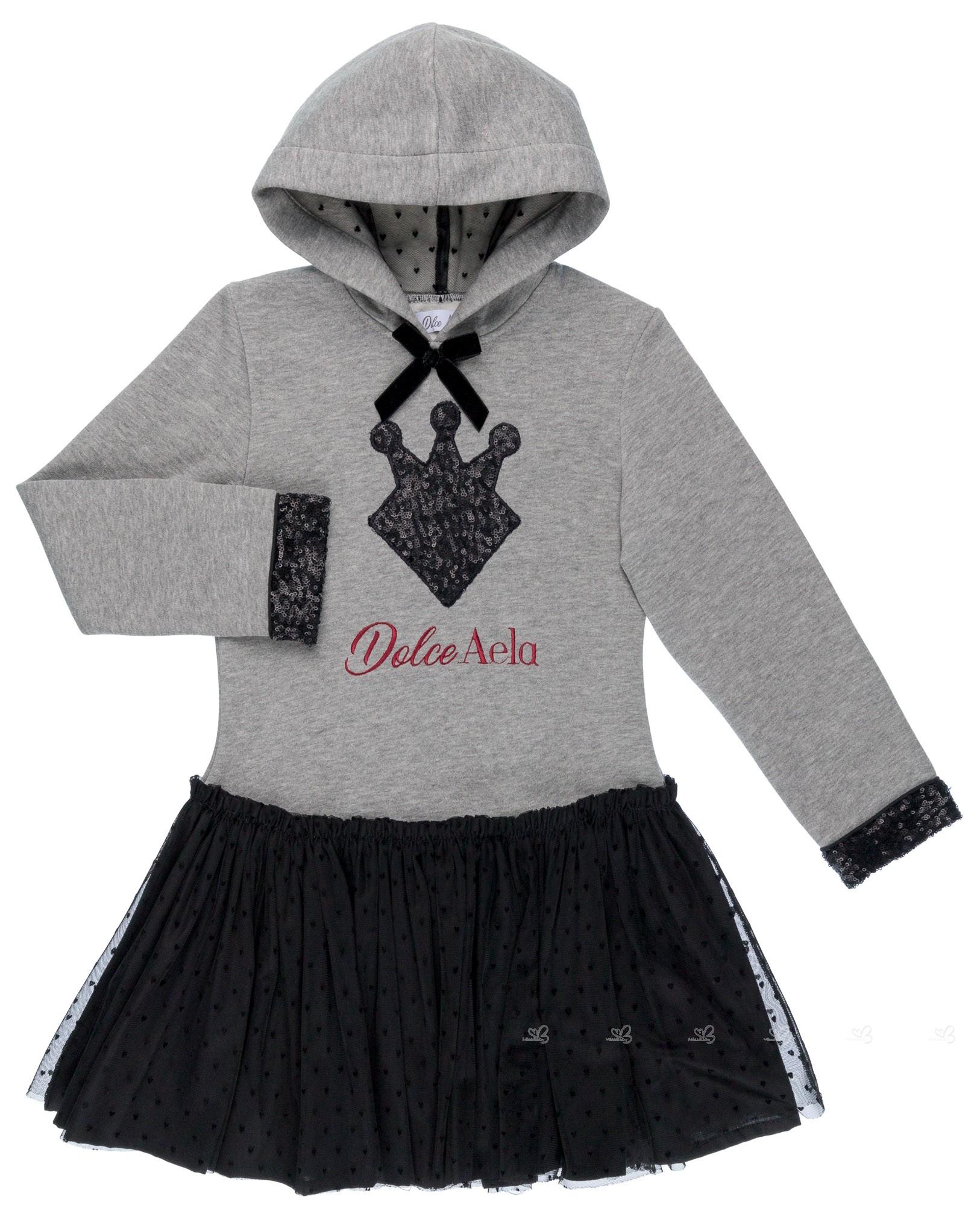 799e020a5 Dolce Petit Vestido Niña Cuerpo Sudadera Capucha Gris   Falda Tul Corazones  Negro ...