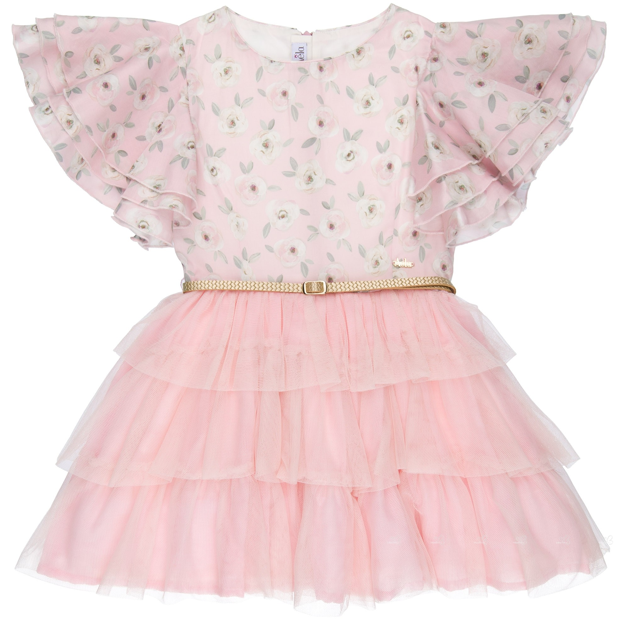 b02889e72 Dolce Petit Vestido Niña Combinado Floral & Falda Volantes Tul Rosa ...