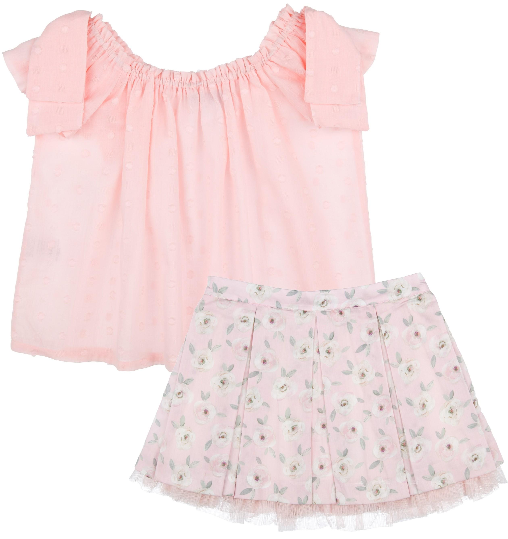 fdd210a3d Conjunto Niña Blusa Plumeti & Falda Estampado Floral Rosa