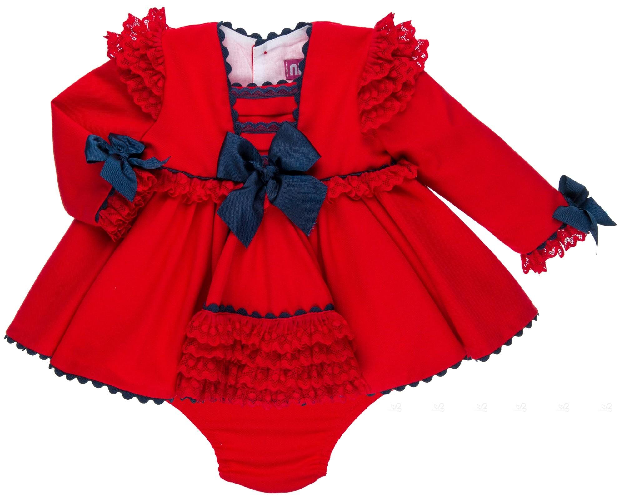 609acbd01 Nini Moda Infantil Conjunto Bebé Niña Vestido Rojo   Lazos Marino ...