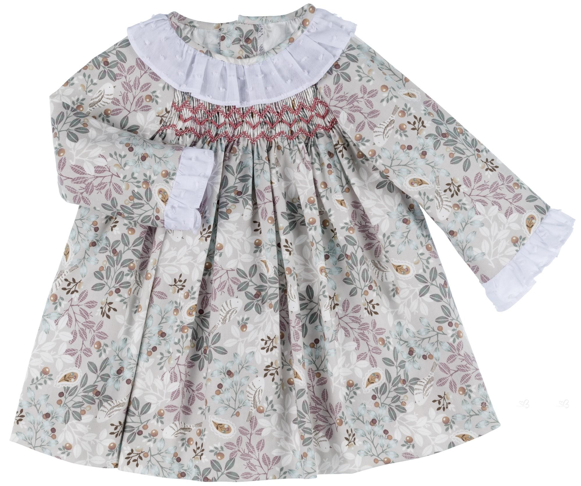 Ancar Vestido Bebé Nido de Abeja Flores   Pajaritos Gris ... 604c83b027b