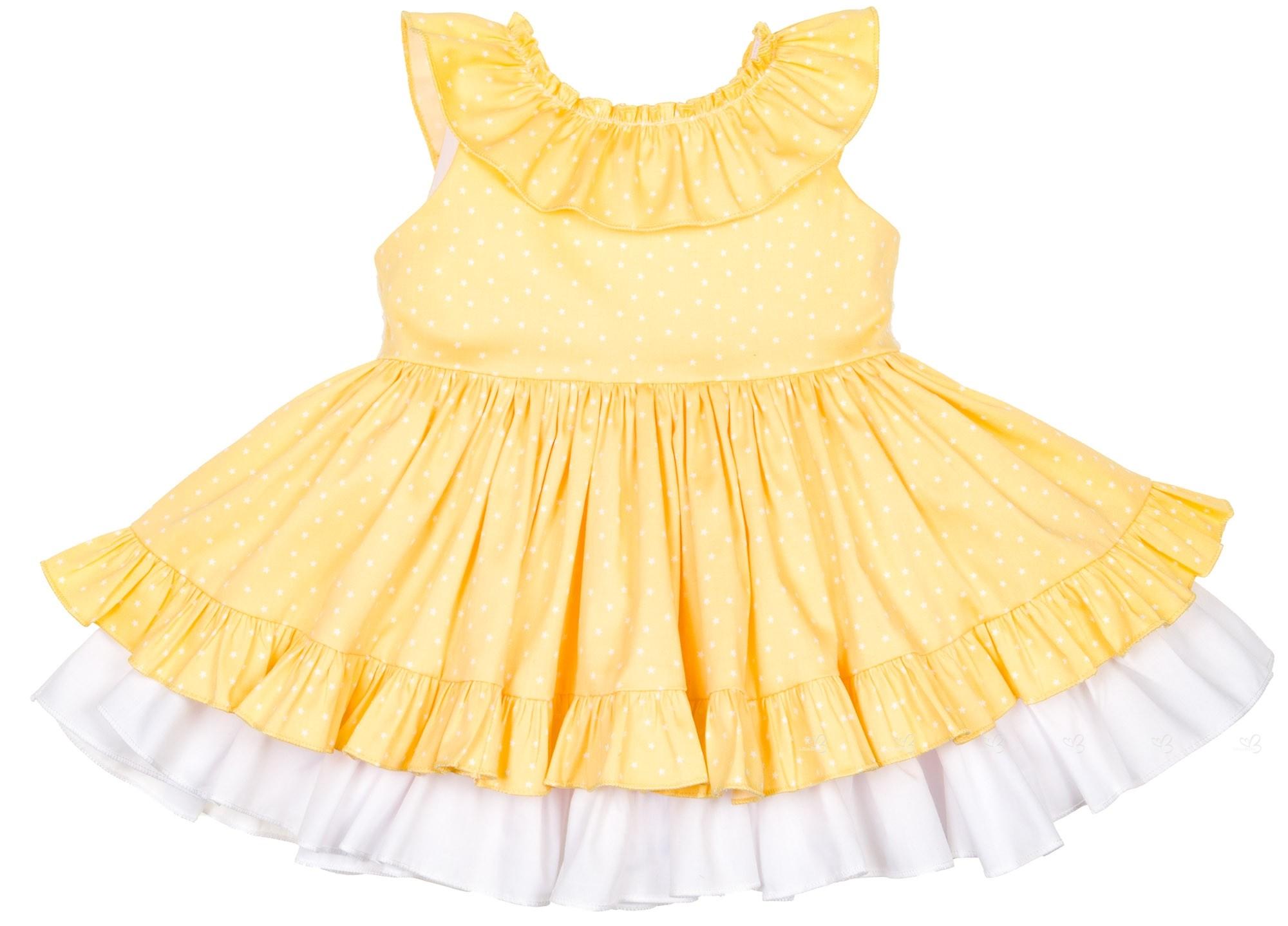 Vestido amarillo y blanco