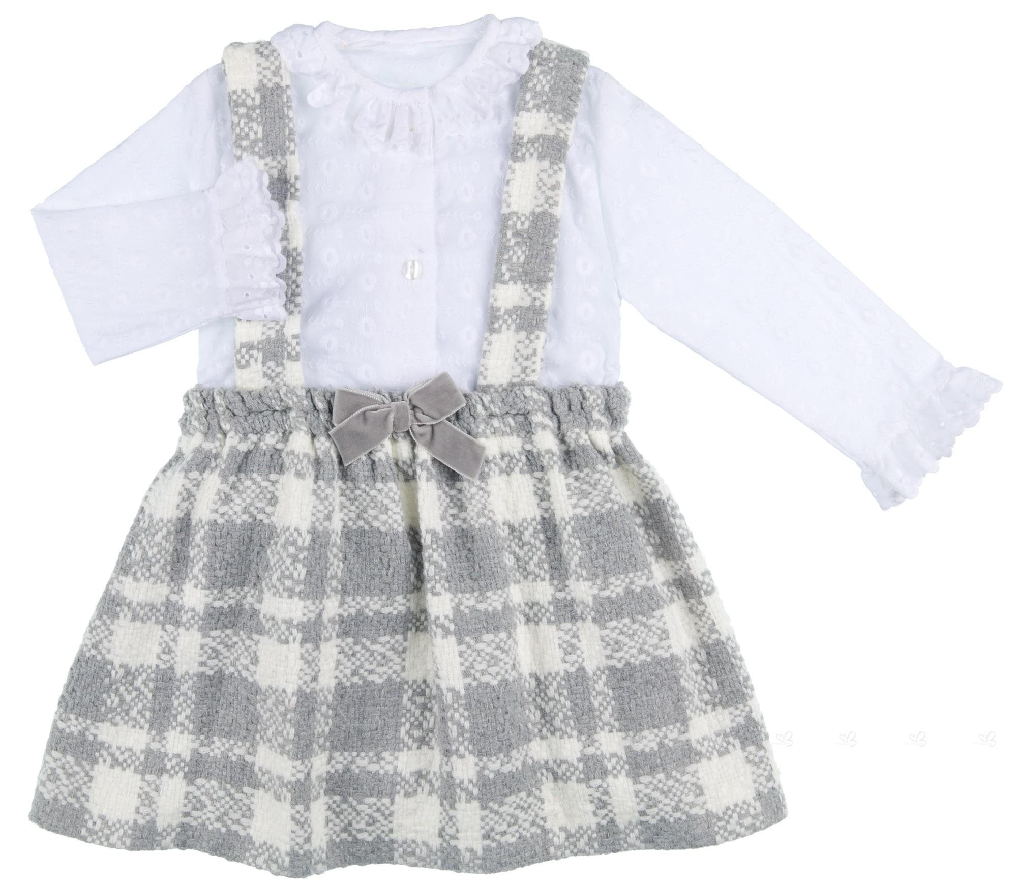 3d6c0c8b2 Mon Petit Bonbon Conjunto Niña Blusa Cuello Volante Bordado Blanco & Falda  Tirantes Cuadros Gris ...