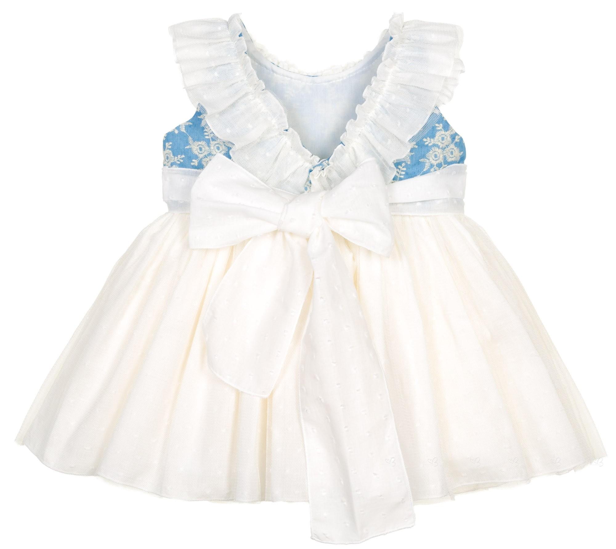 4072a23c9 Lappepa Moda Infantil Vestido Niña Combinado Cuerpo Bordado Flores ...