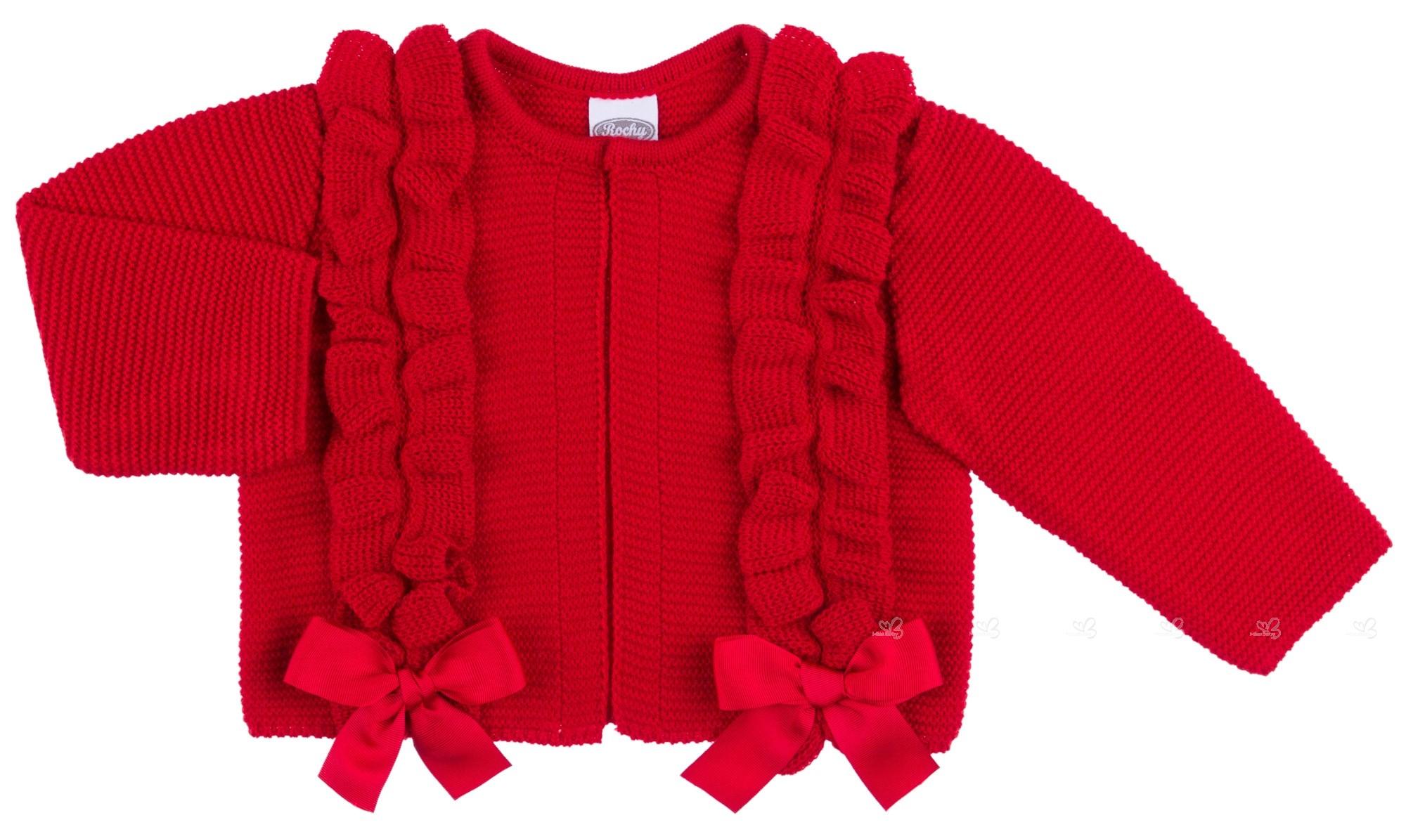 01f5741b6 Chaqueta Bebé Niña Punto Rojo & Lazos