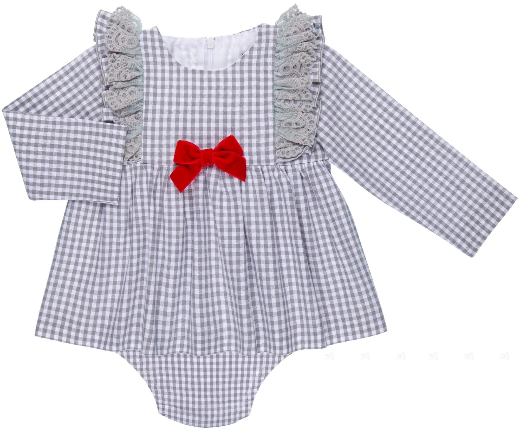4f5779f9b Mon Petit Bonbon Conjunto Bebé Niña Vestido   Braguita Cuadros Vichy Gris  ...