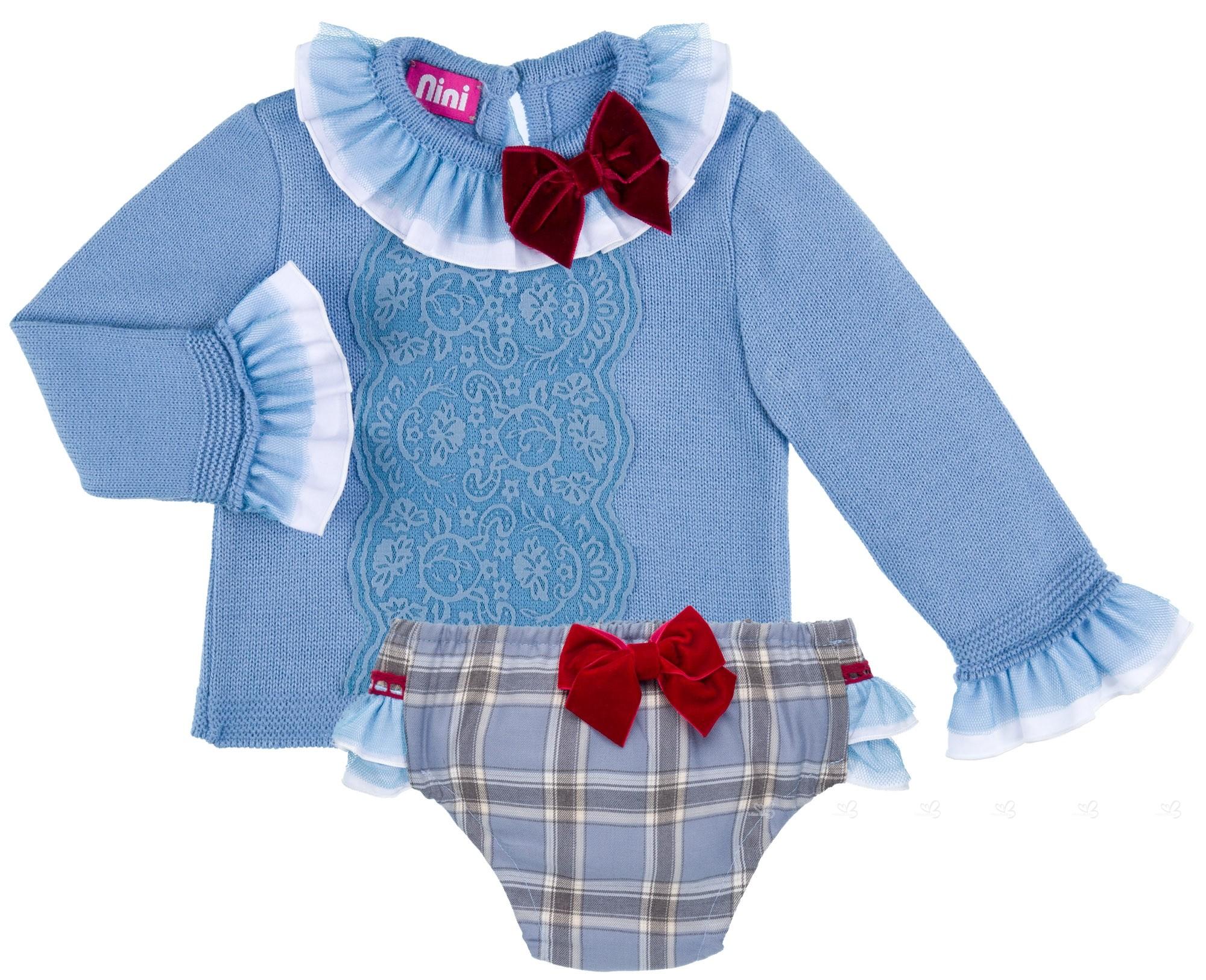 4fa3bf9651413 Nini Moda Infantil Conjunto Bebé Niña Jersey Punto   Braguita Cuadros  Celeste ...