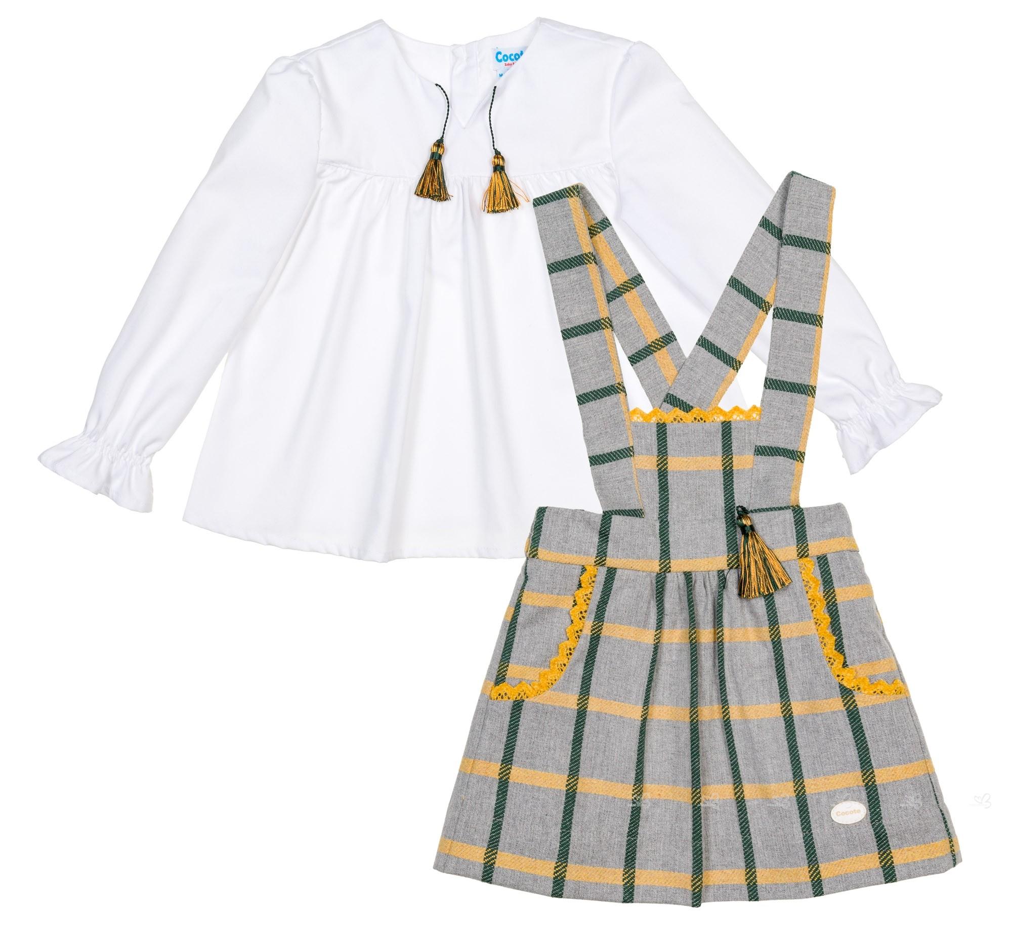 muy agradable características sobresalientes estilo de moda de 2019 Conjunto Niña Blusa Blanca & Falda Peto Cuadros Gris
