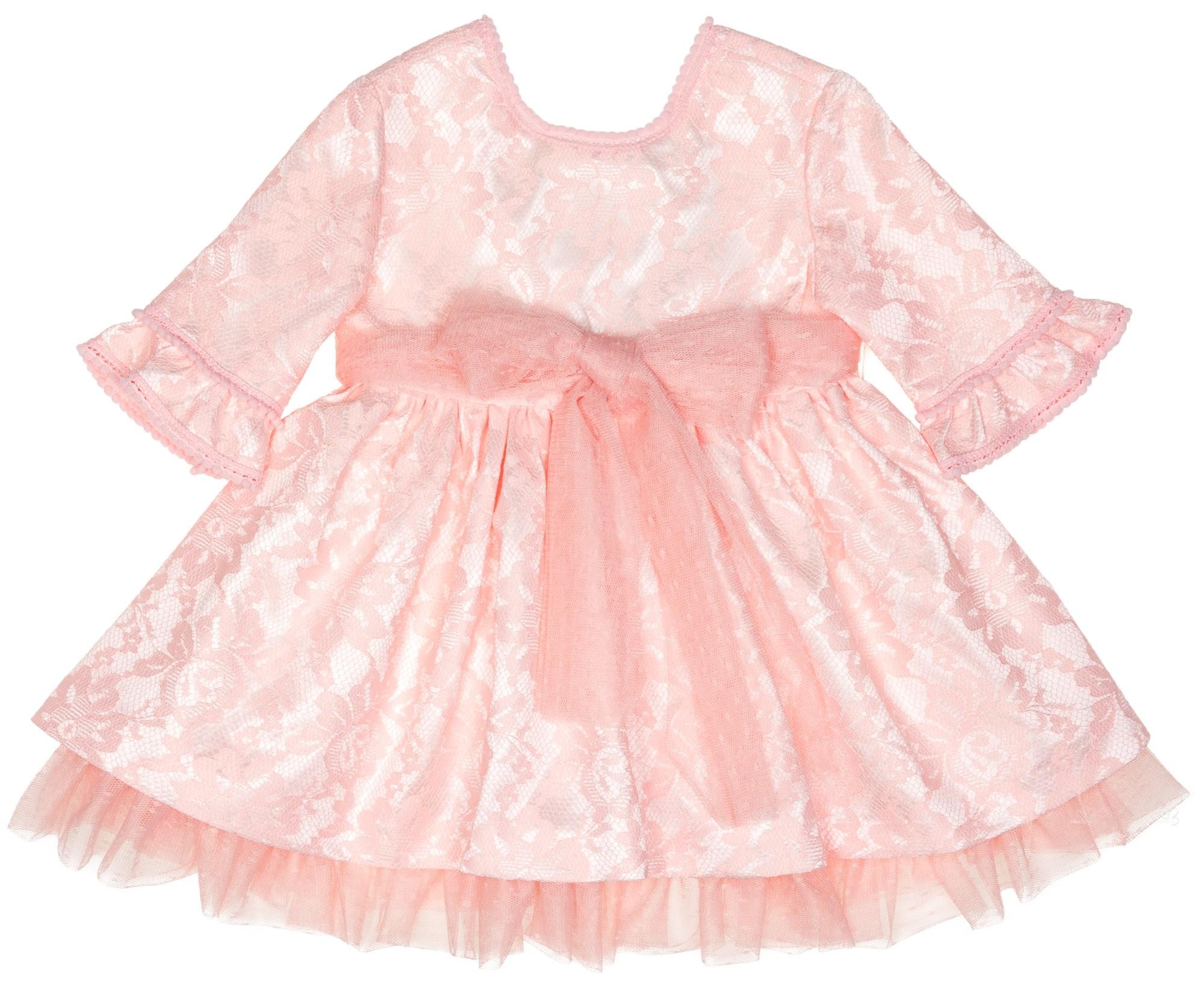 338784b83 Nekenia Vestido Niña Manga Francesa Raso   Encaje Rosa  Vestido Niña  Ceremonia ...