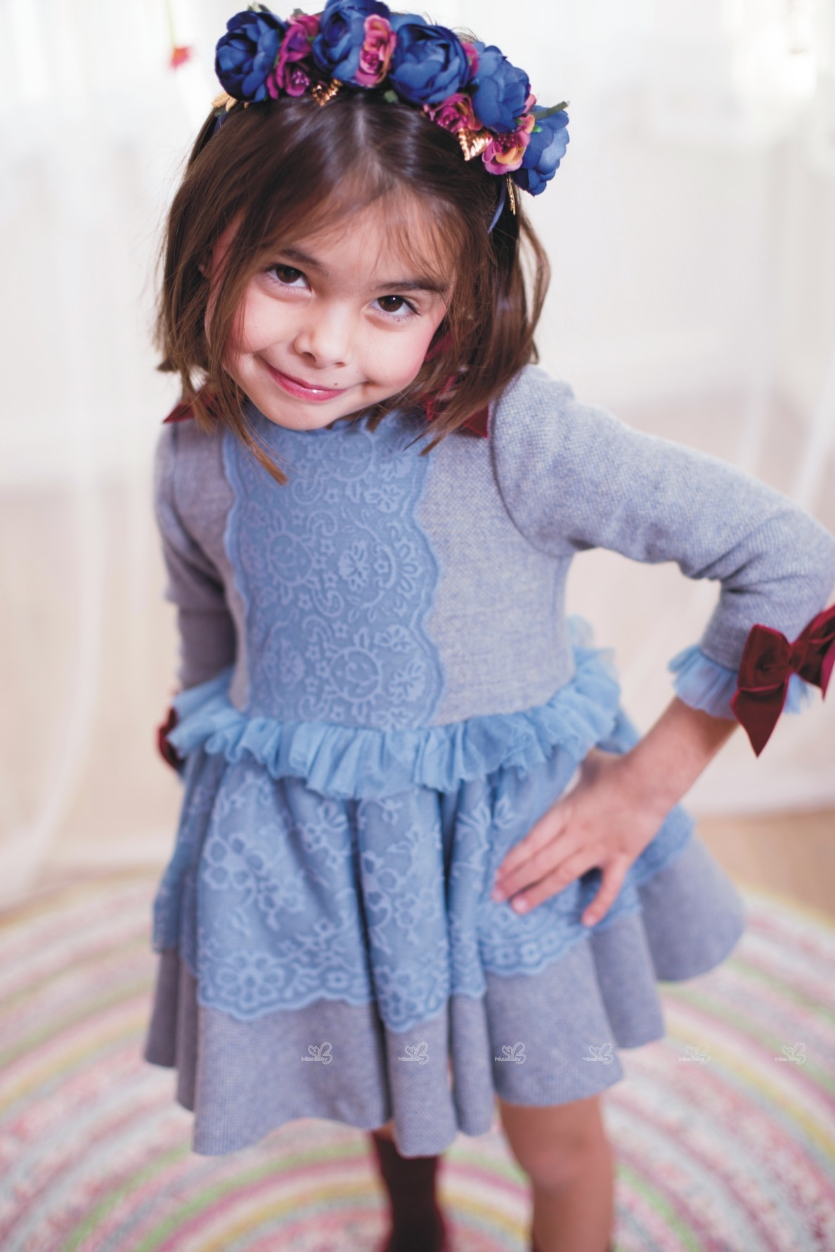 6c2e587d80 ... Nini Moda Infantil Vestido Niña Paño Gris   Puntilla Celeste ...