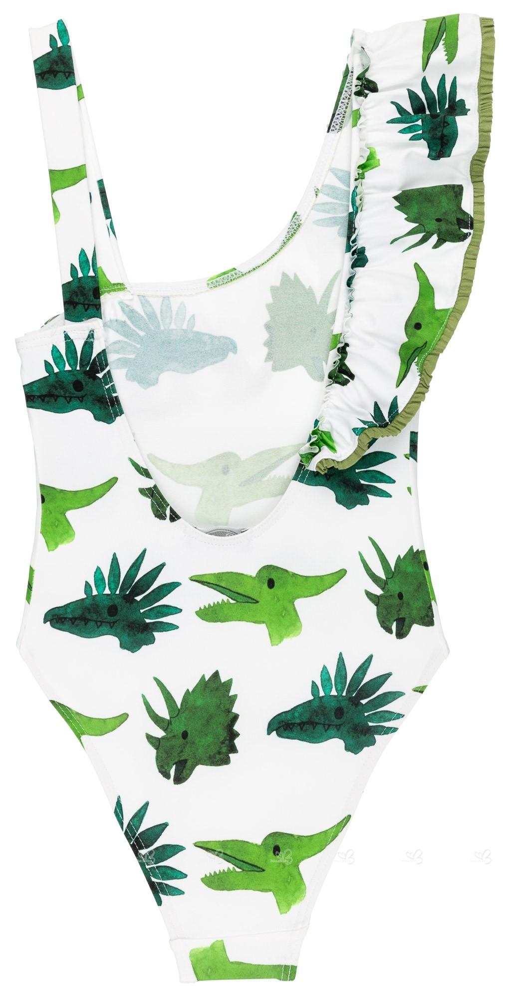 274a2c6f4b71 Bañador Niña Volante Asimétrico Dinosaurios Verde