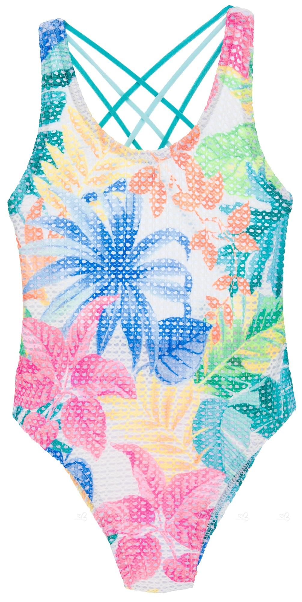 Floral Perforadoamp; Multicolor Bañador Niña Estampado RScjL354qA