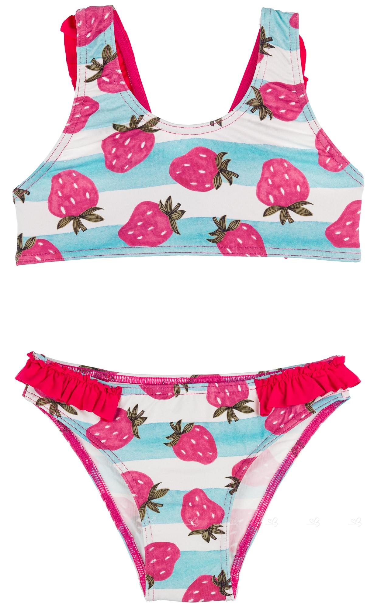 72d52e47a89 Maricruz Moda Infantil Bikini Niña Rayas Celeste & Fresas con Volantes ...