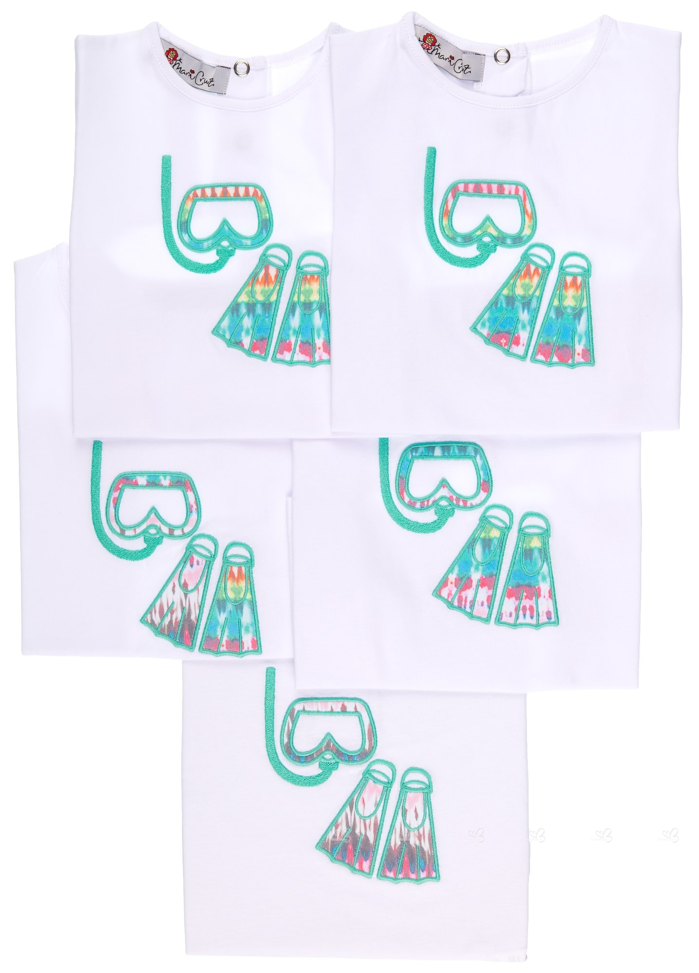 Agua De Verde Con Camiseta Bordadas Gafasamp; Aletas Bucear En Niño Blanca n0wONyvm8
