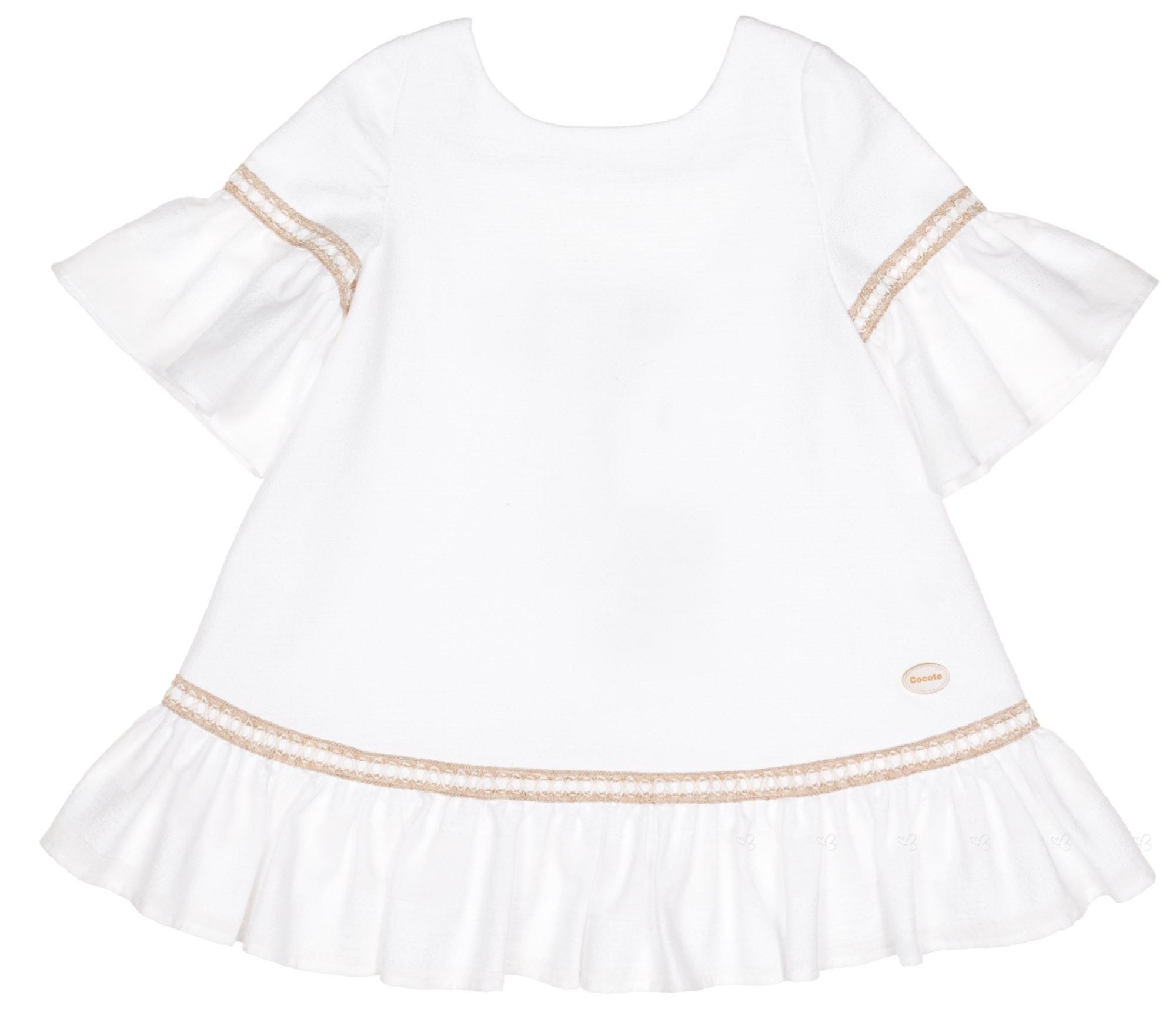 Vestido Niña Manga Francesa Algodón Blanco