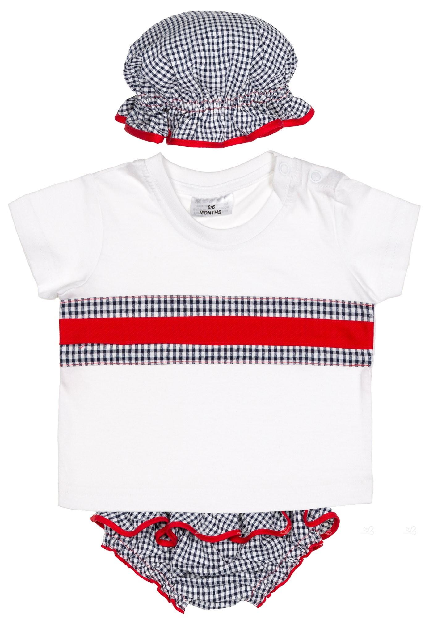 Carmencita Conjunto Bebé Niña Camiseta Culetín Gorro Cuadros Vichy Marino  ... 15cd5882cb8a