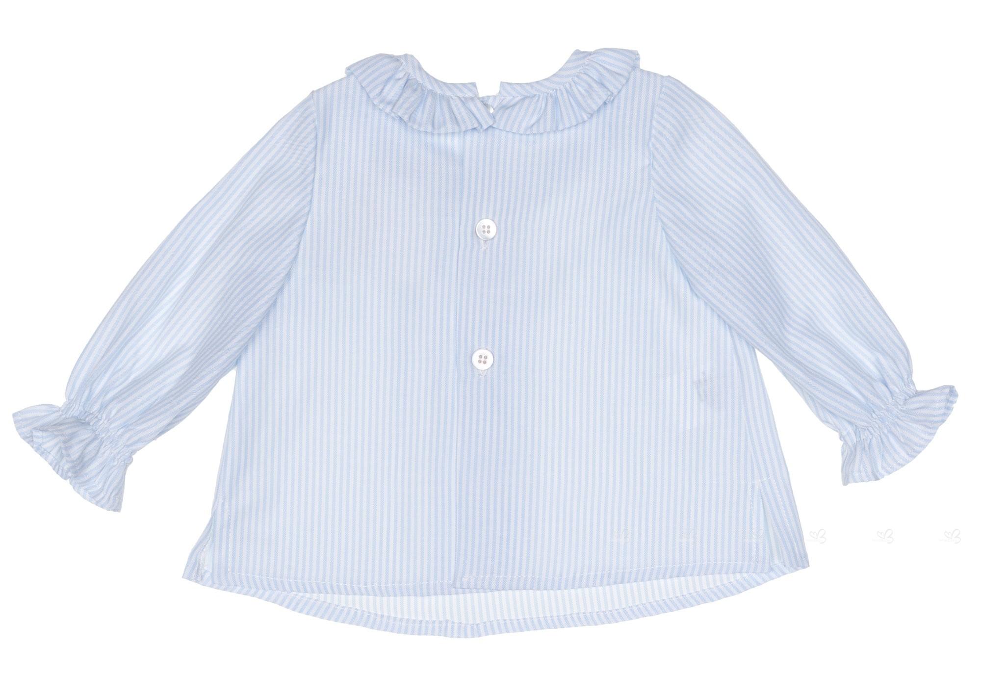 a9bc53e39a9 ... Conjunto Bebé Niño Camisa Cuello Rayas Azul   Rana Marino ...