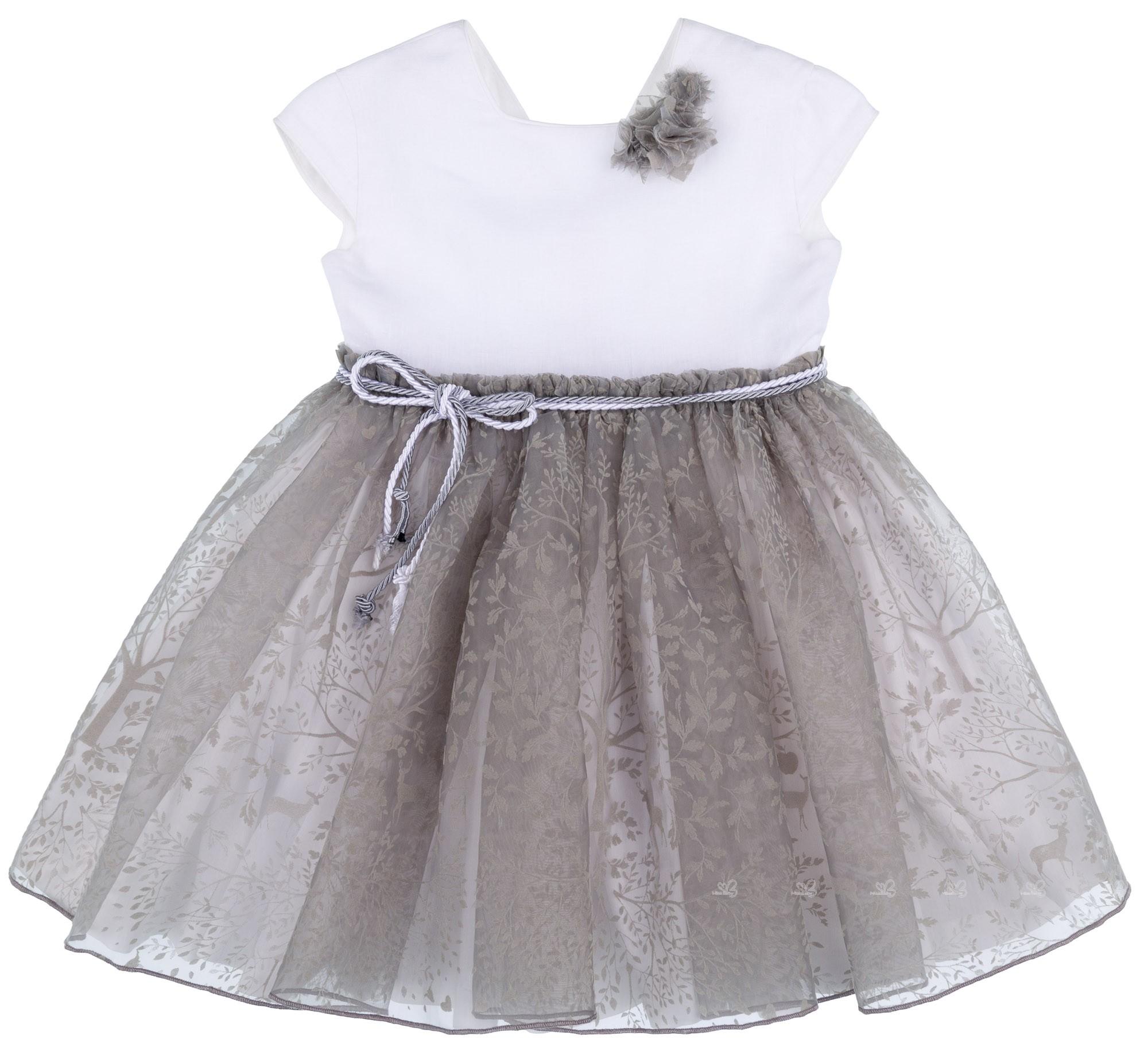 04c8c8fa42 Manuela Montero Vestido Niña Aina Combinado Lino Blanco   Tul Bordado Gris  ...