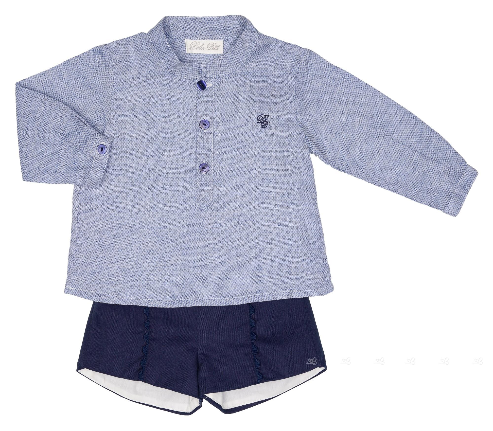 grandes variedades nueva estilos último descuento Conjunto Bebé Niño Camisa Azul & Short Marino