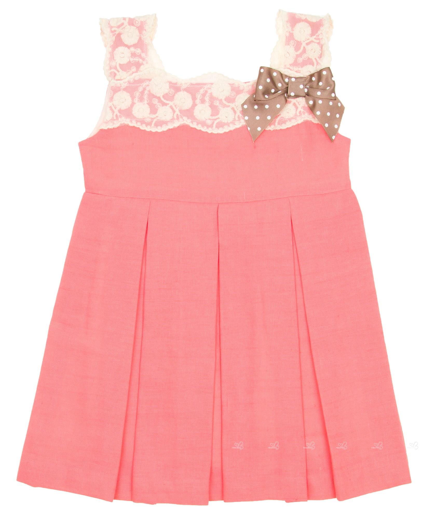 Vestido Melocotón Rosa Coral Encaje Crudo