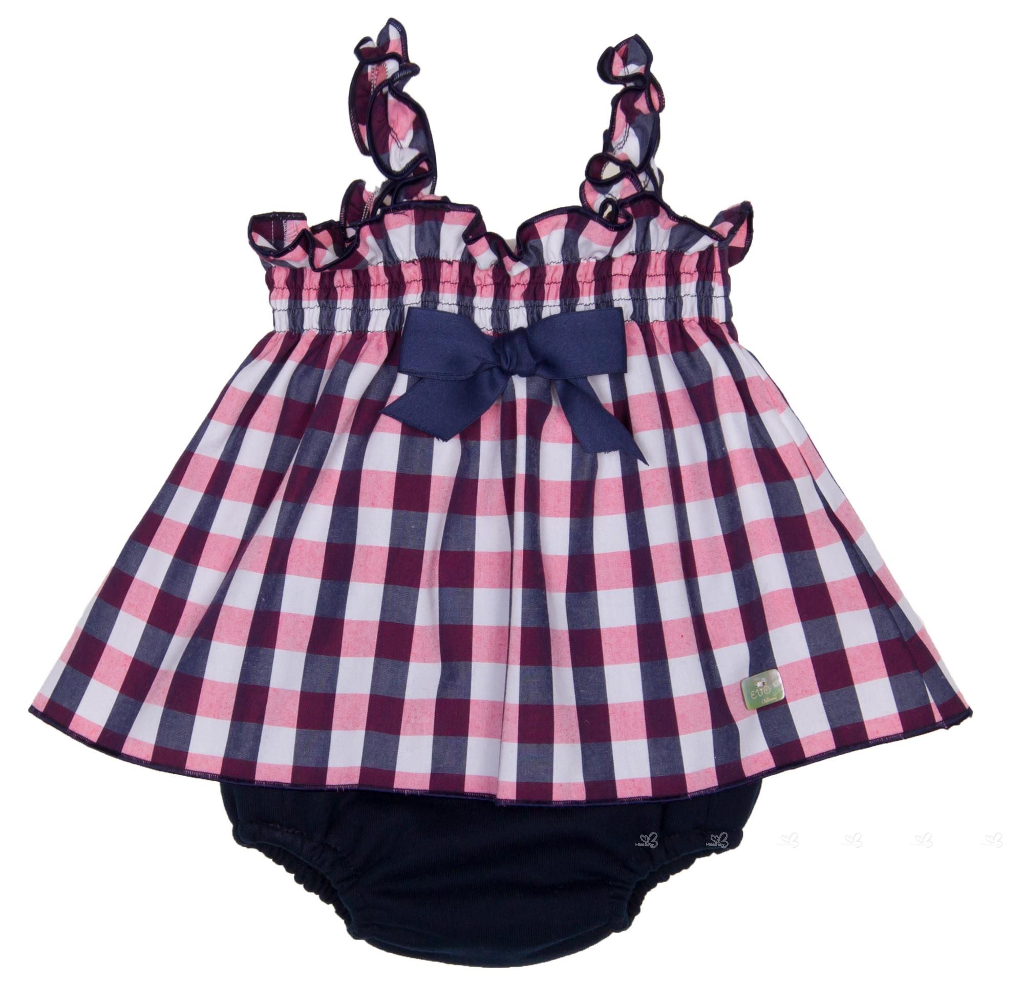 Eve Children Conjunto Bebé Vestido Cuadros Marino & Rosa | Missbaby