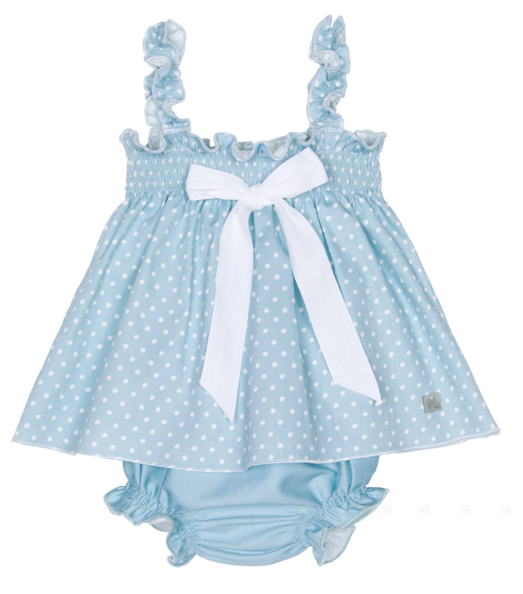 e71095cf3de9a Eve Children Conjunto Bebé Vestido Tirantes   Braguita Topitos Azul ...