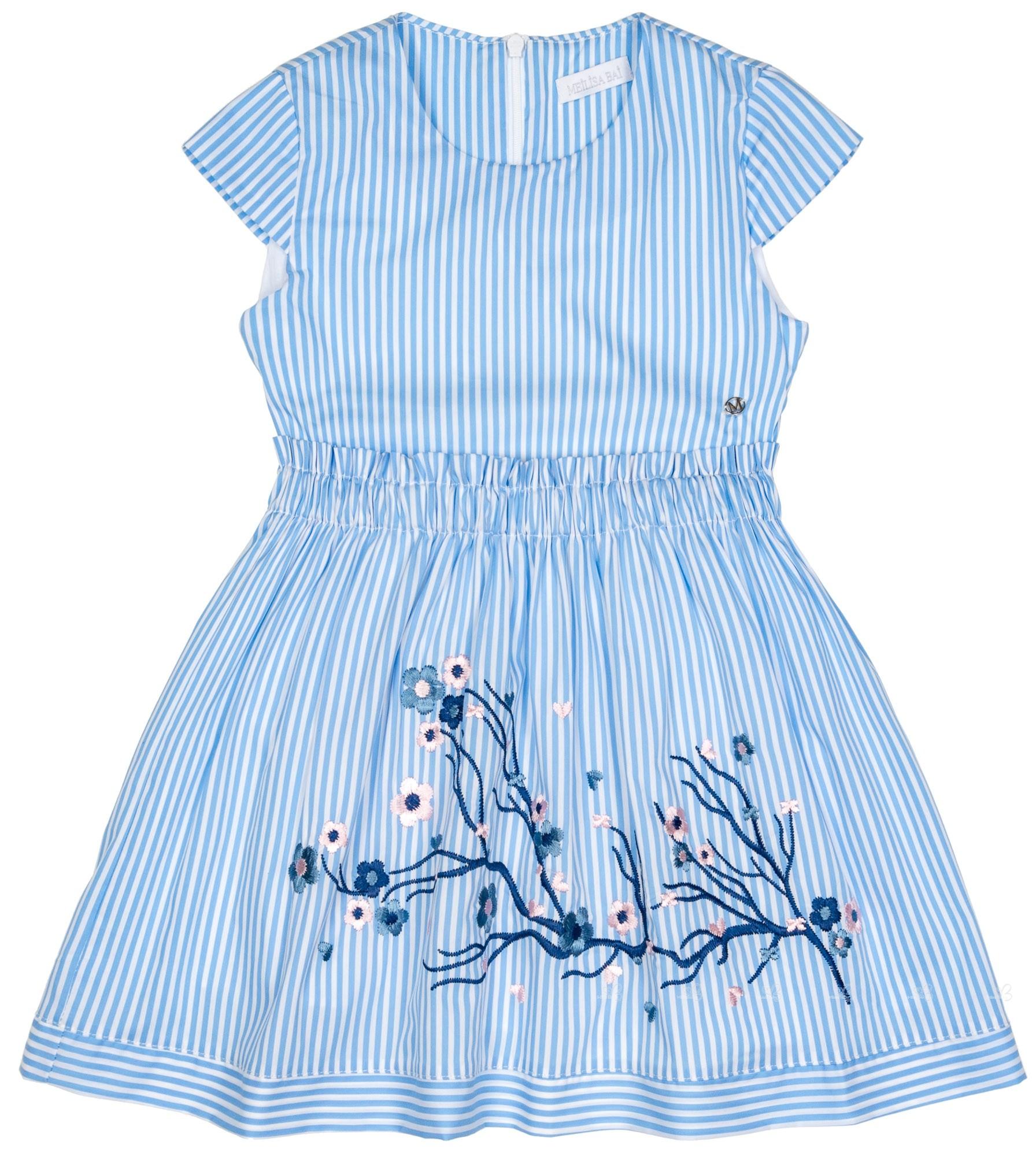 7eec6bcc1 Meilisa Bai Vestido Niña Bordado Floral Rayas Azul   Blanco
