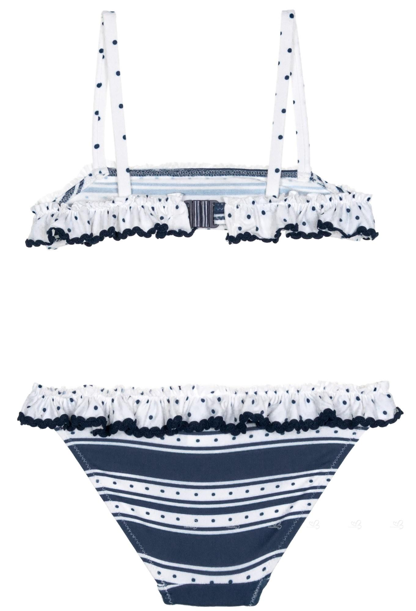 744a1c3e02e Foque Bikini Niña Rayas Marino & Volante Colección Mikonos   Missbaby