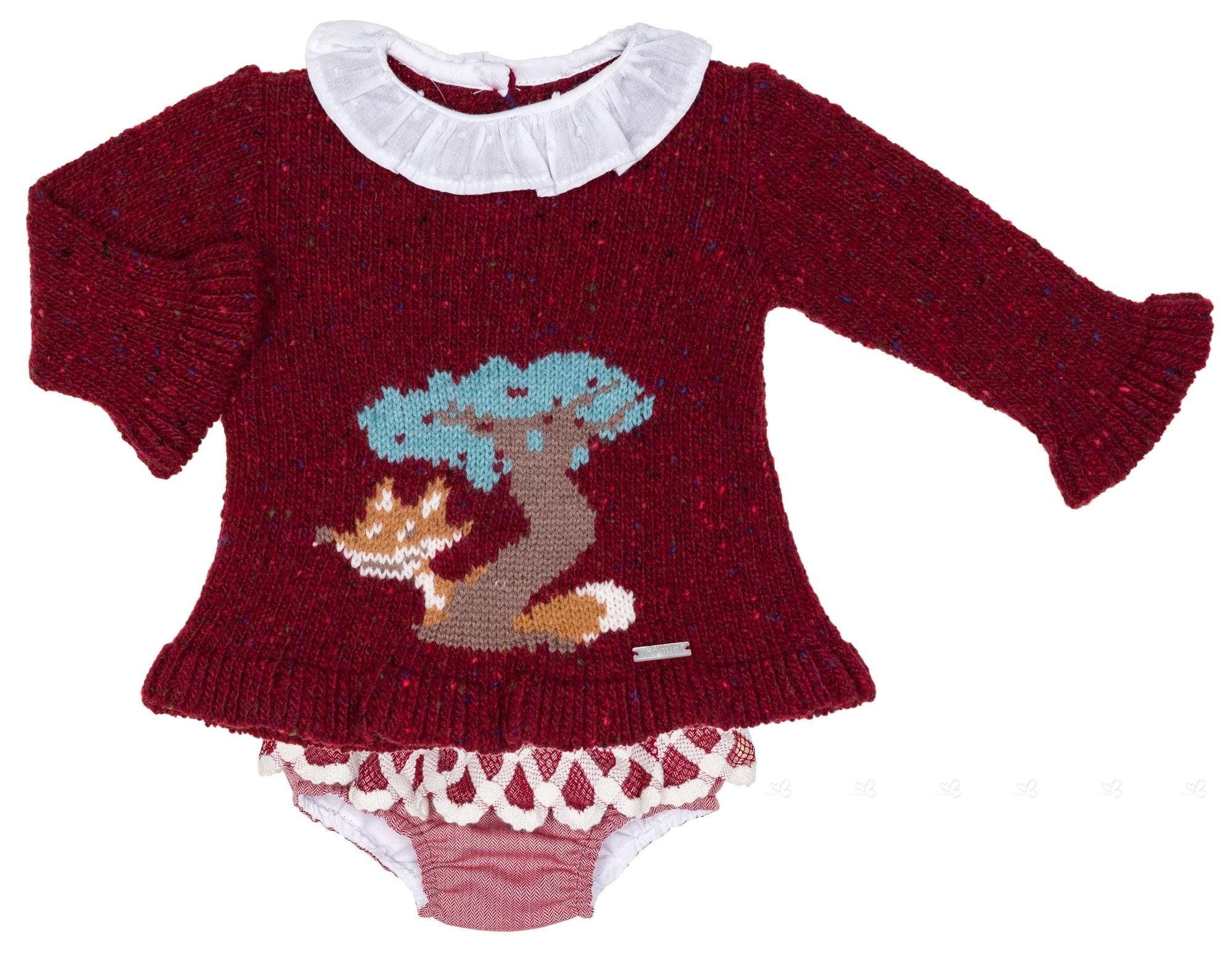eba1f01ba7e ... Conjunto Bebé Niña Jersey   Short Granate Colección Caperucita ...
