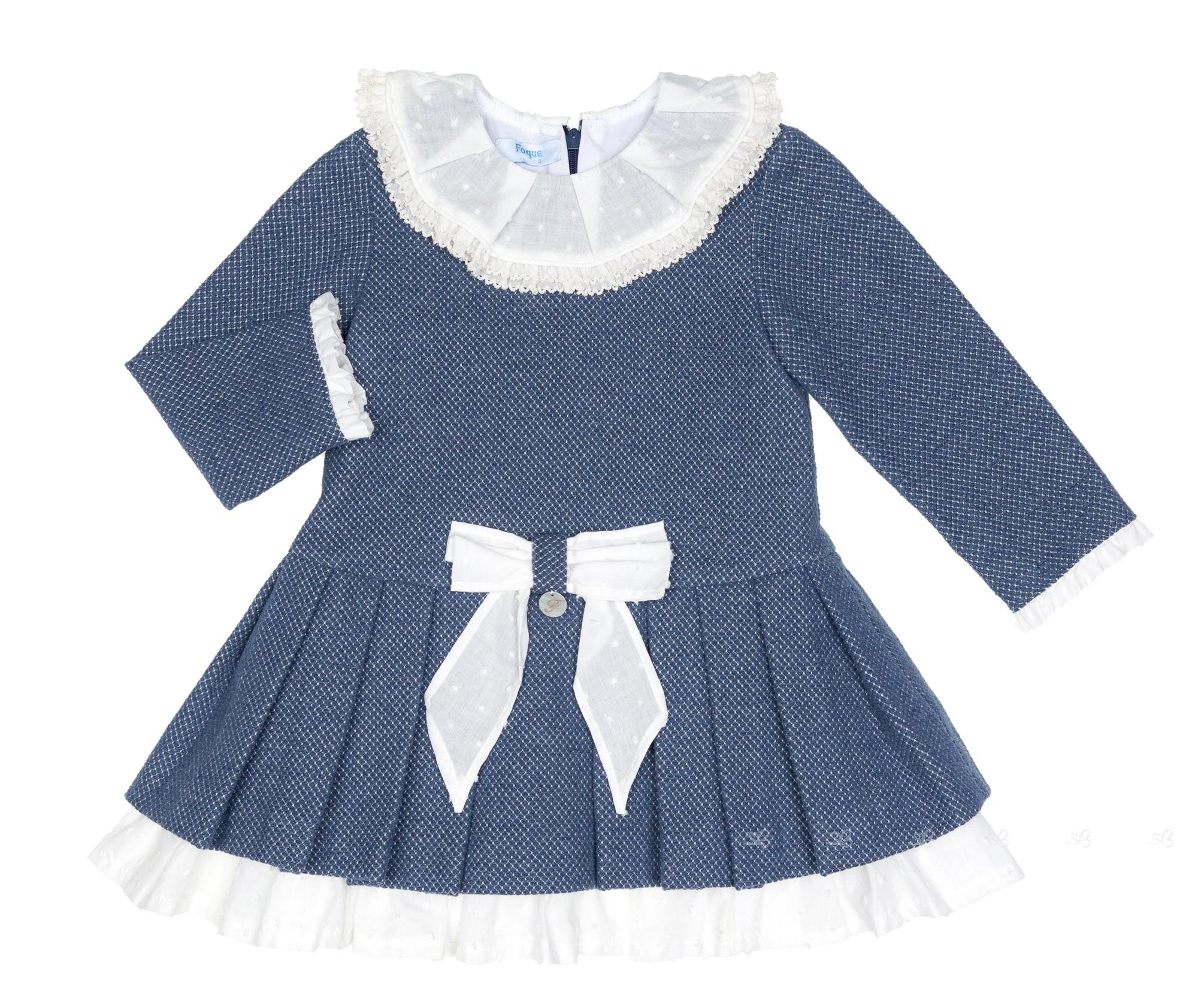 Vestido Azul Blanco Colección Pulgarcito
