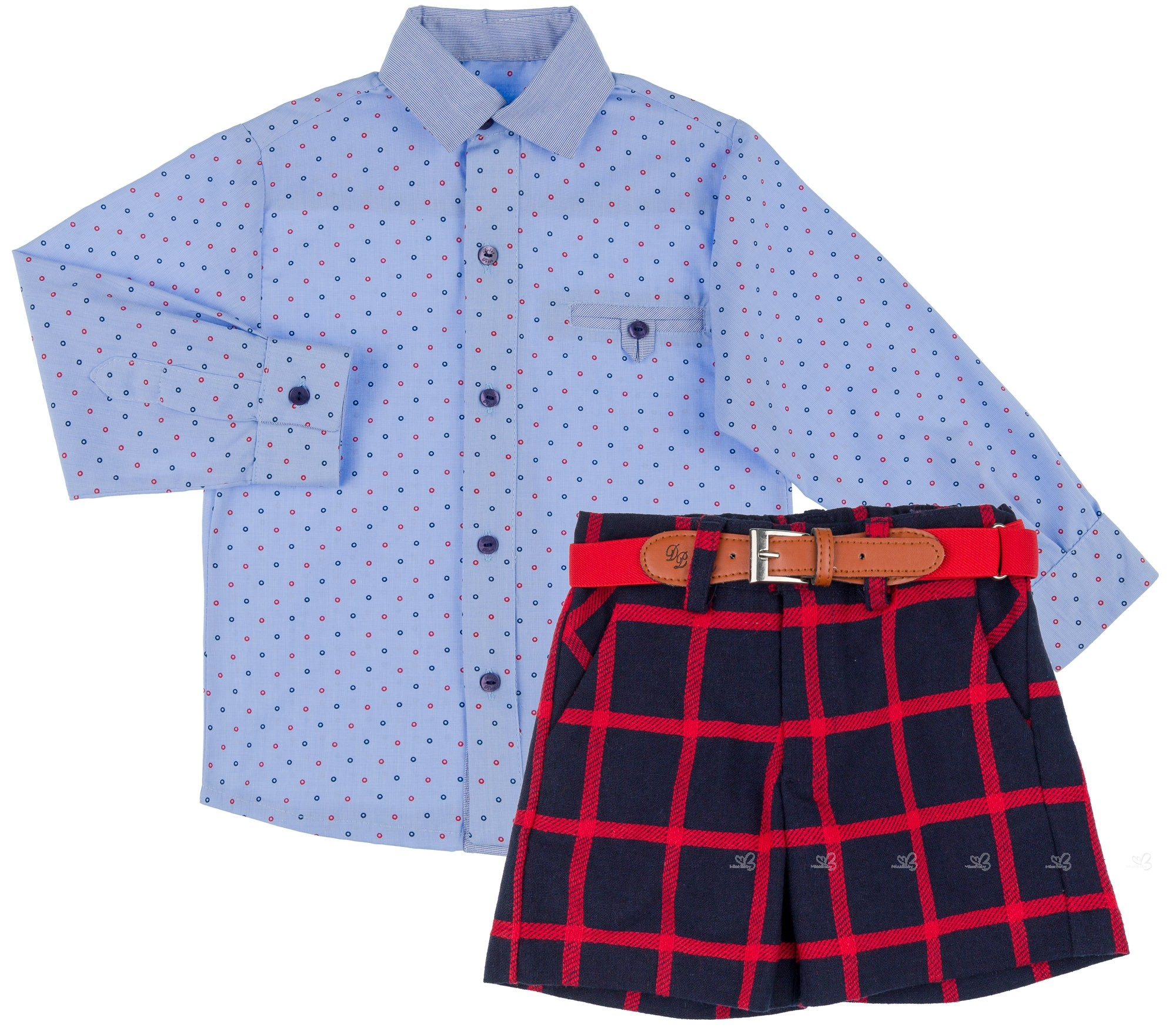 7d538455b Dolce Petit Conjunto Niño Camisa Azul Short Cuadros Marino ...