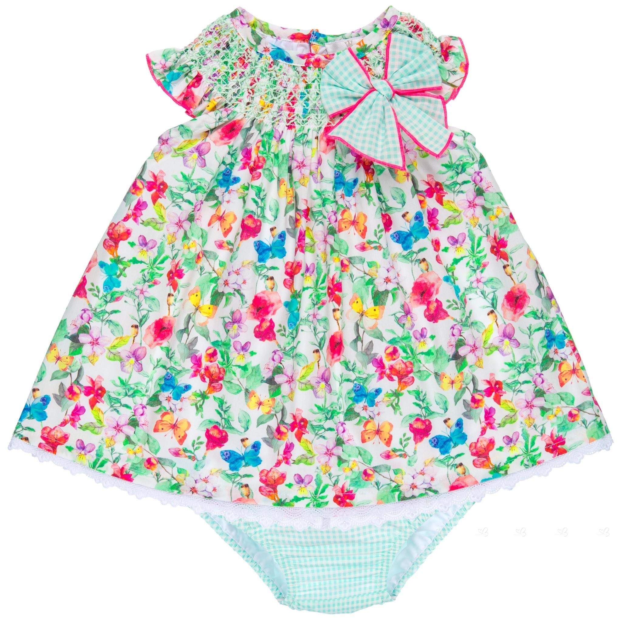 2081df4ca Eva Castro Conjunto Bebé Niña Vestido   Braguita Estampado Floral Verde  Colección Corina ...