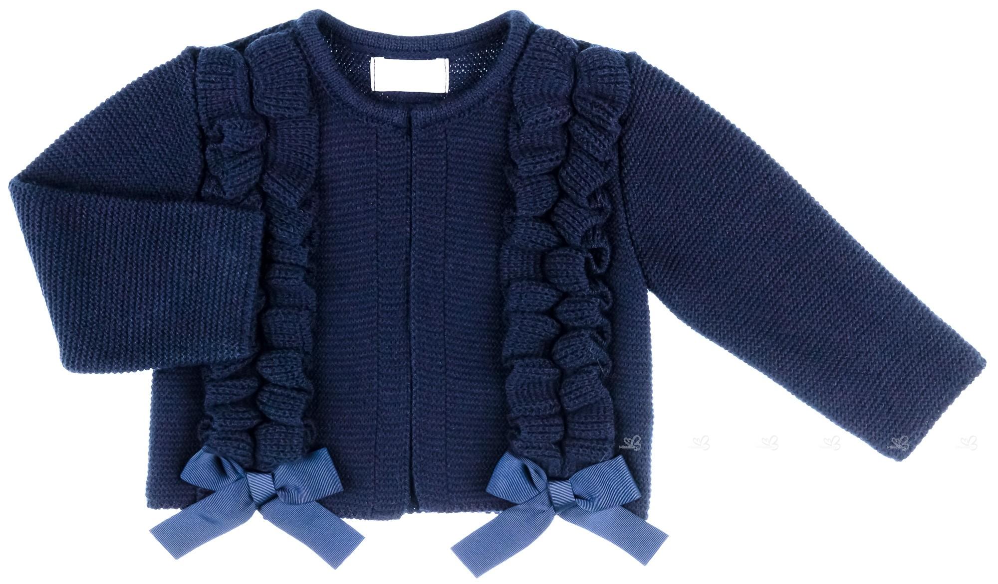 comprar online retro desigual en el rendimiento Chaqueta Bebé Niña Punto Azul Marino & Lazos