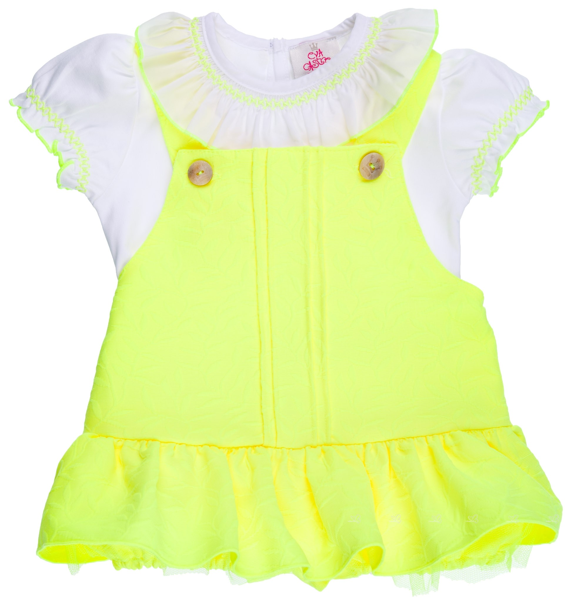 ccfaa29ab Conjunto Niña Camiseta Blanca & Ranita Volante Amarillo Flúor