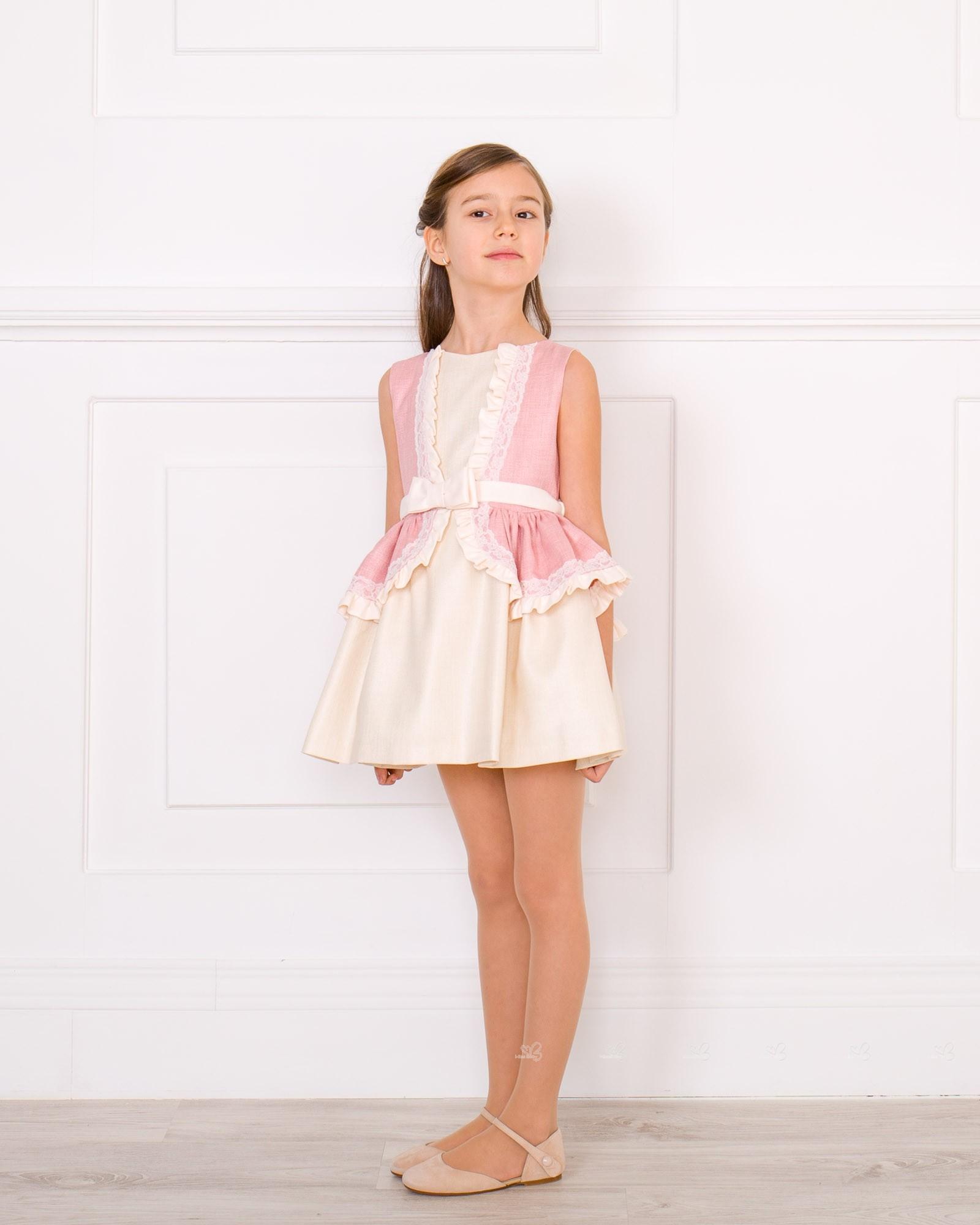 Outfit Vestido Volante Rosa Palo u0026 Crudo | Missbaby