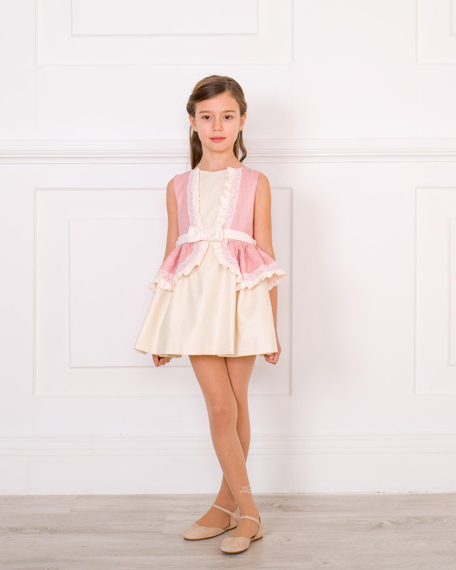 Vestido Niña Volante Rosa Palo Crudo