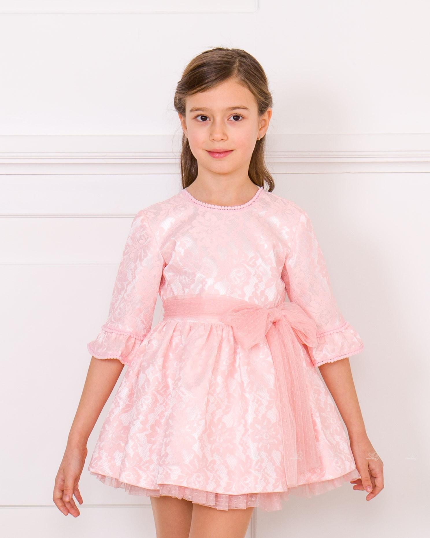 fca2b1645 ... Vestido Niña Ceremonia Manga Francesa Raso   Encaje Rosa ...