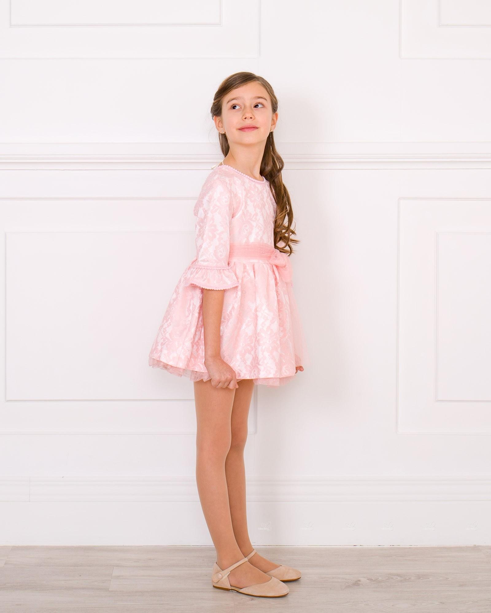f98da34d1 ... Nekenia Vestido Niña Manga Francesa Raso   Encaje Rosa  Vestido Niña  Ceremonia ...