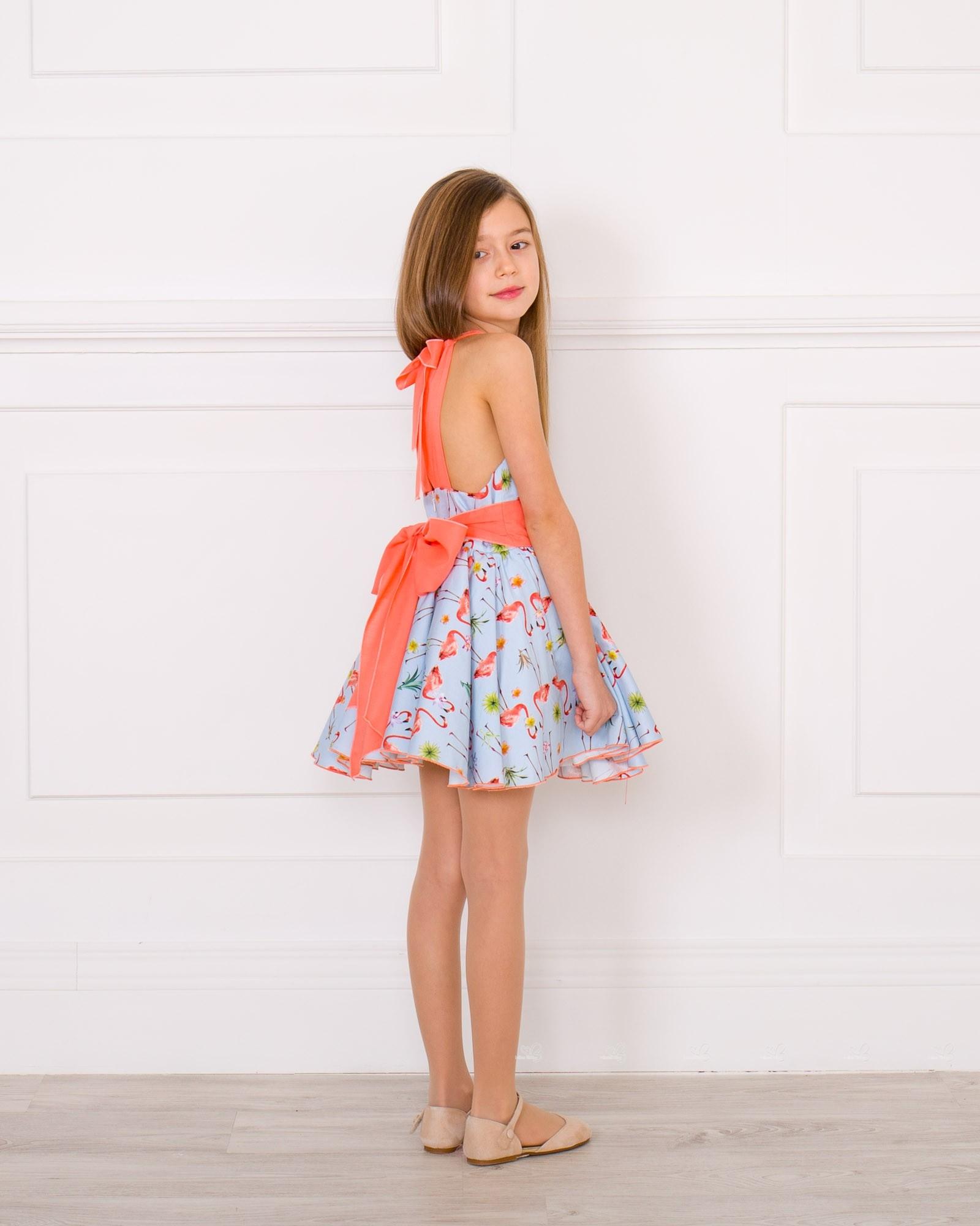 Vestido Niña Vuelo Estampado Flamencos Espalda Cruzada Coral