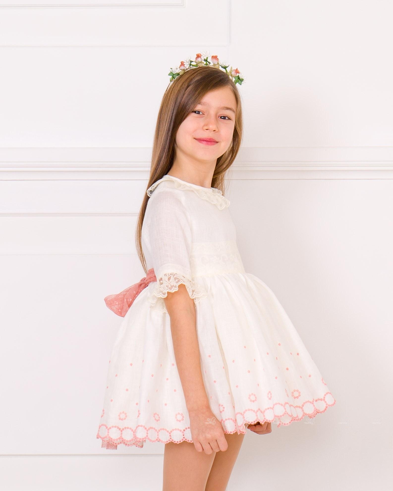 1a1794a4ee Lappepa Moda Infantil Vestido Niña Manga Francesa Bordado   Encaje ...