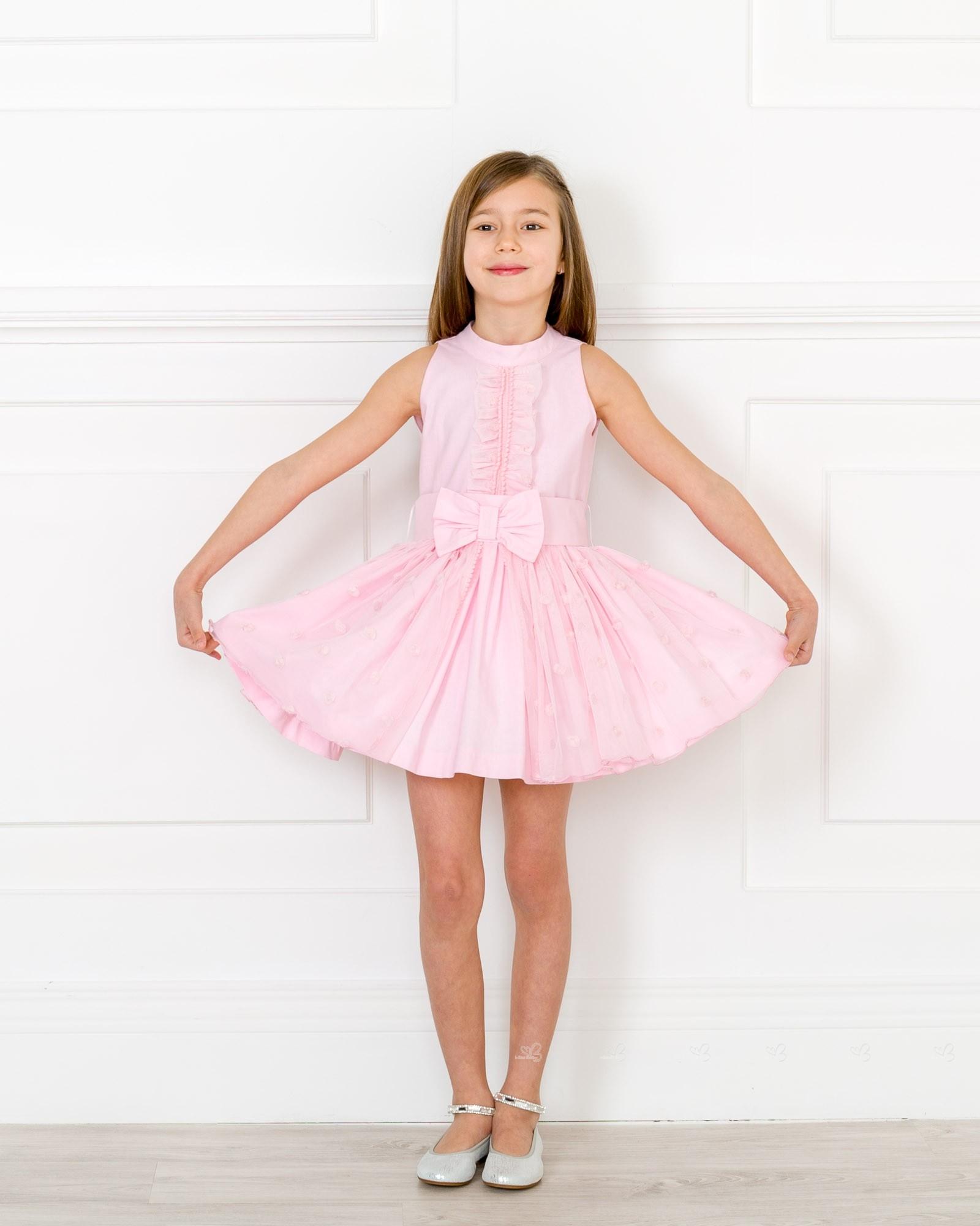 lindo baratas salida para la venta que buen look Vestido Niña Popelin Tul Bordado & Espalda en V Rosa