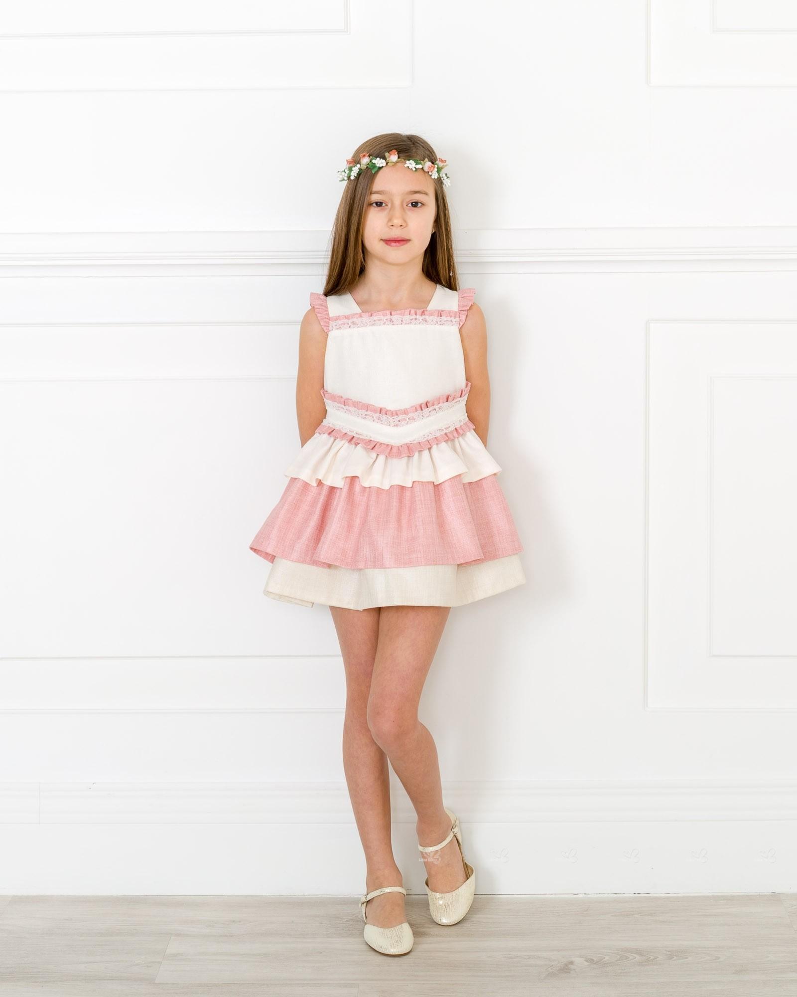 Vestido Niña Volantes Rosa Pastel Crudo