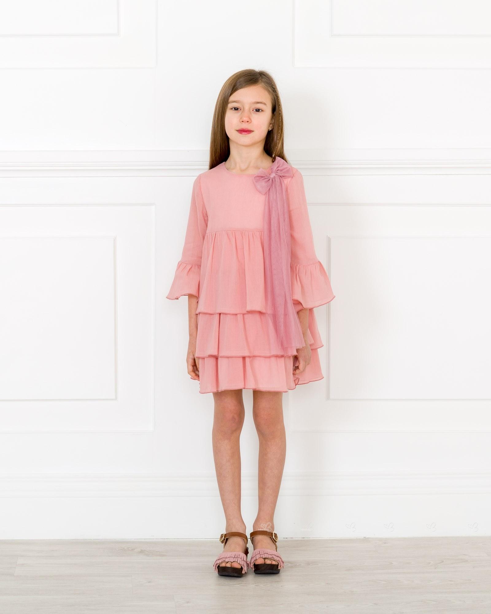 Eve children vestido ni a manga francesa volantes bambula rosa empolvado missbaby - Color rosa empolvado ...