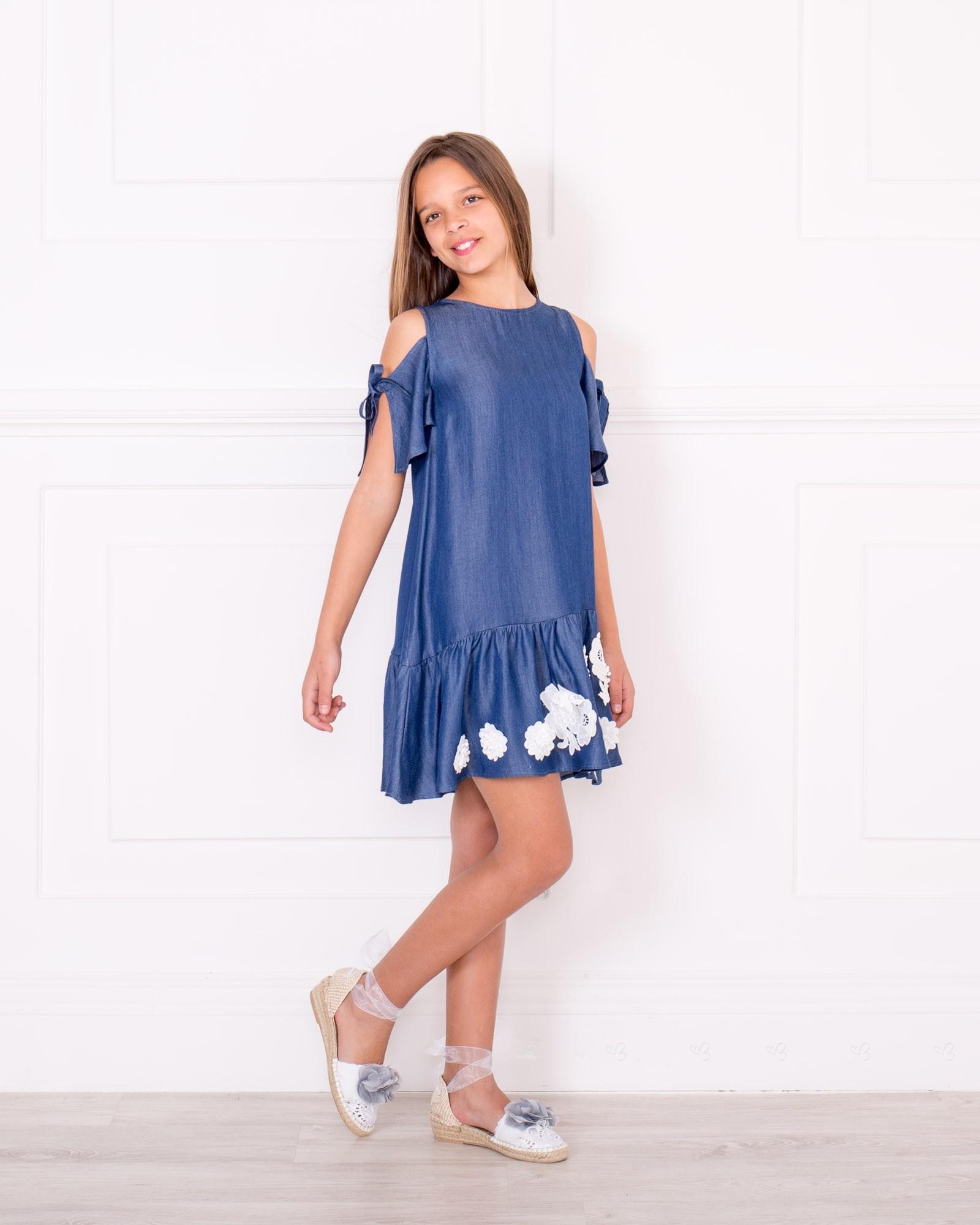 Outfit Vestido Chambray Hombro Descubierto u0026 Bajo Volante Azul - Outfits | Missbaby