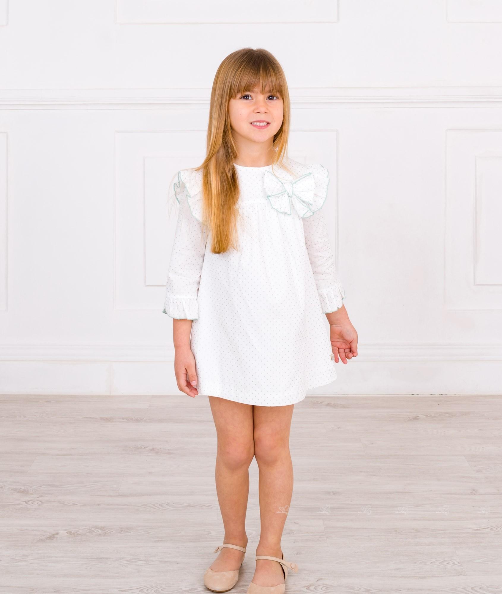 84de48cef ... Outfit Vestido Manga Francesa Topitos Glitter Verde   Blanco